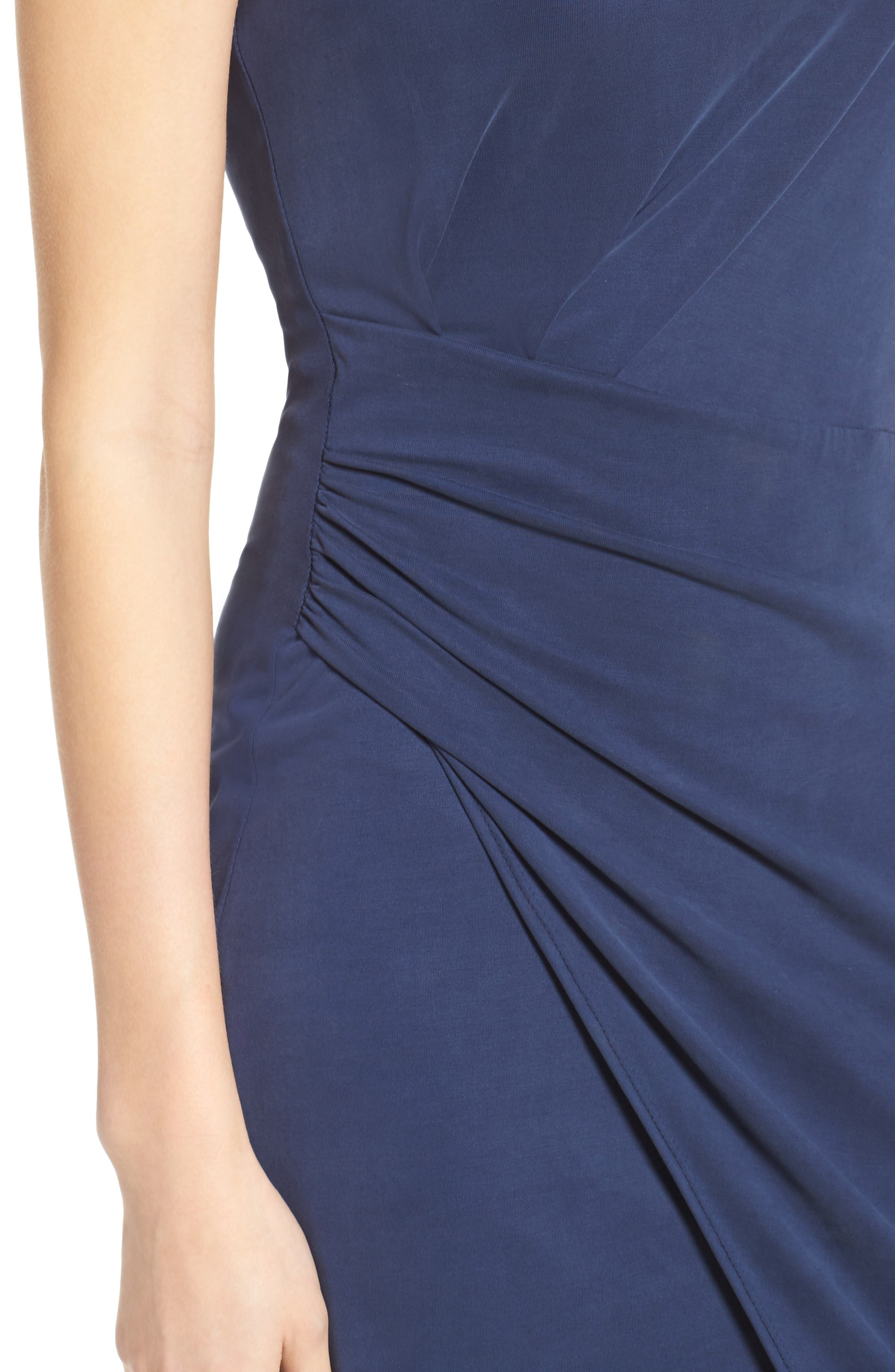 Pleated Body-Con Dress,                             Alternate thumbnail 5, color,                             Navy