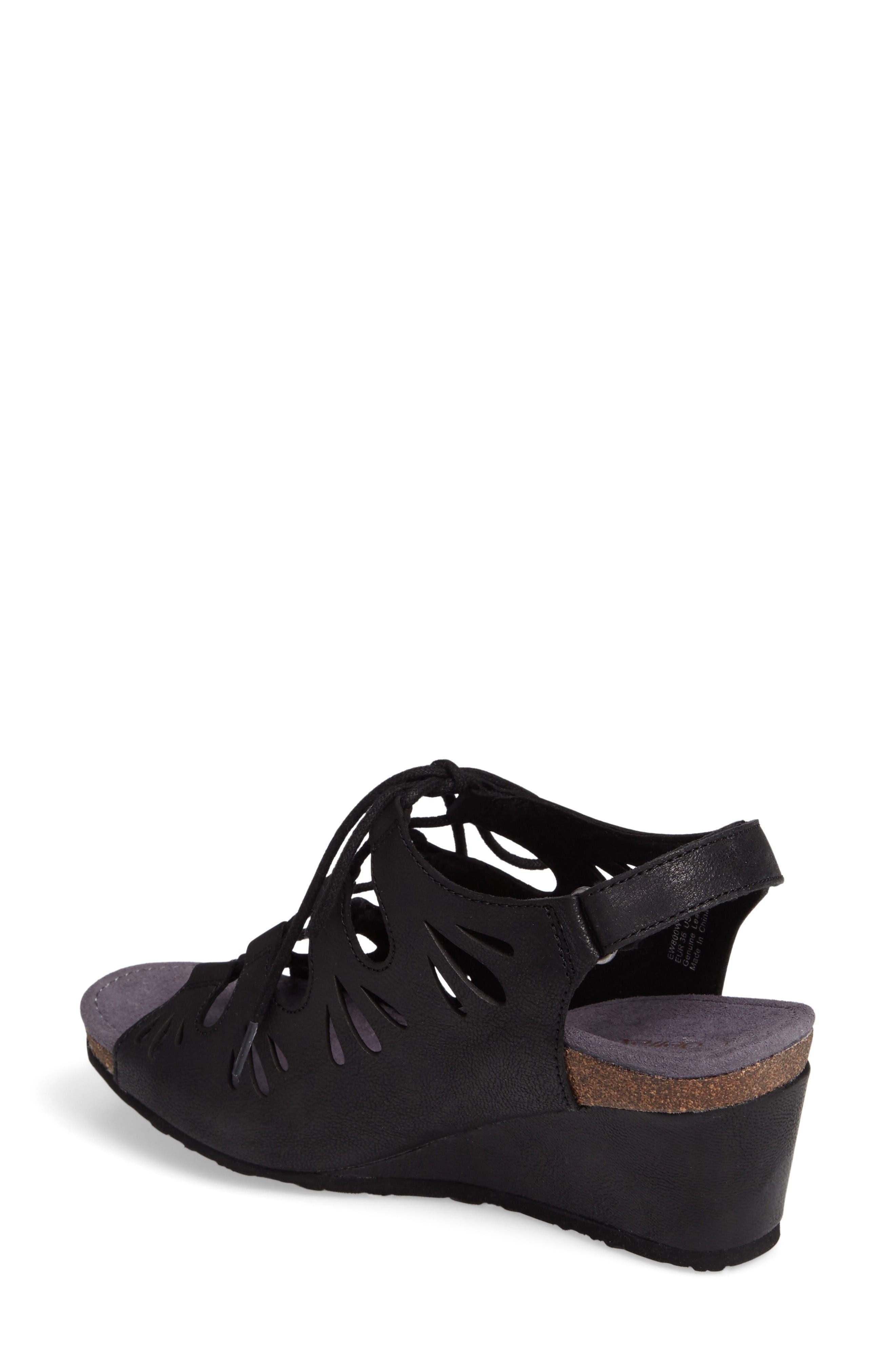 Giselle Slingback Wedge Sandal,                             Alternate thumbnail 2, color,                             Black Leather