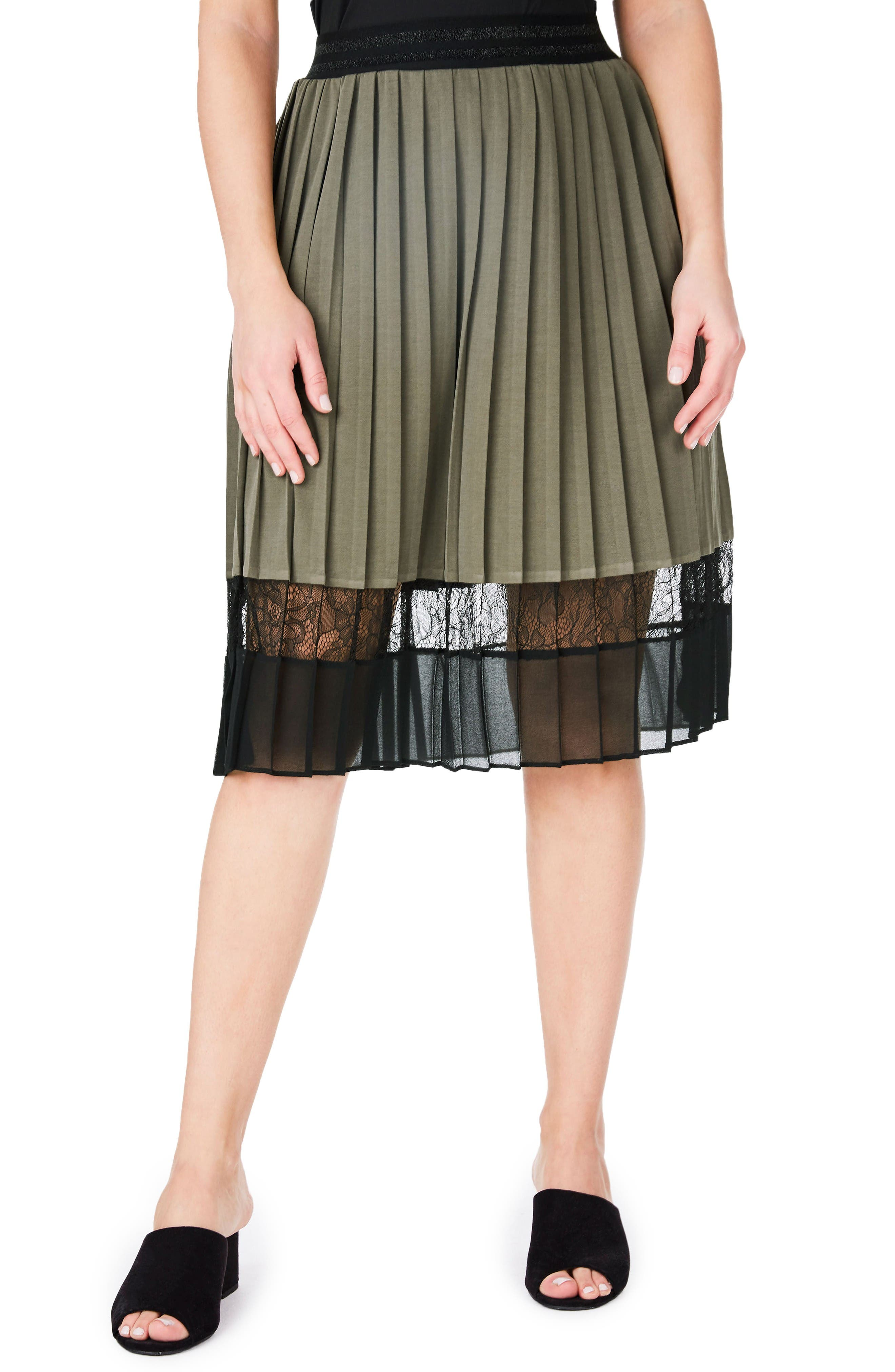 Lace Hem Pleat Skirt,                         Main,                         color, Khaki