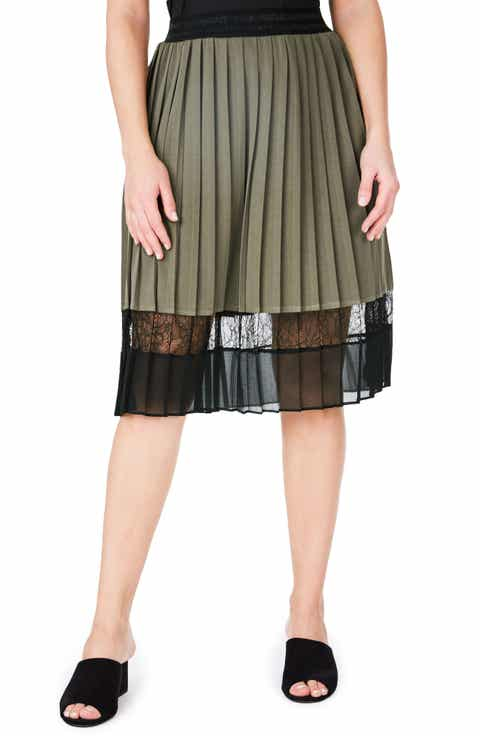 ELVI Lace Hem Pleat Skirt (Plus Size)