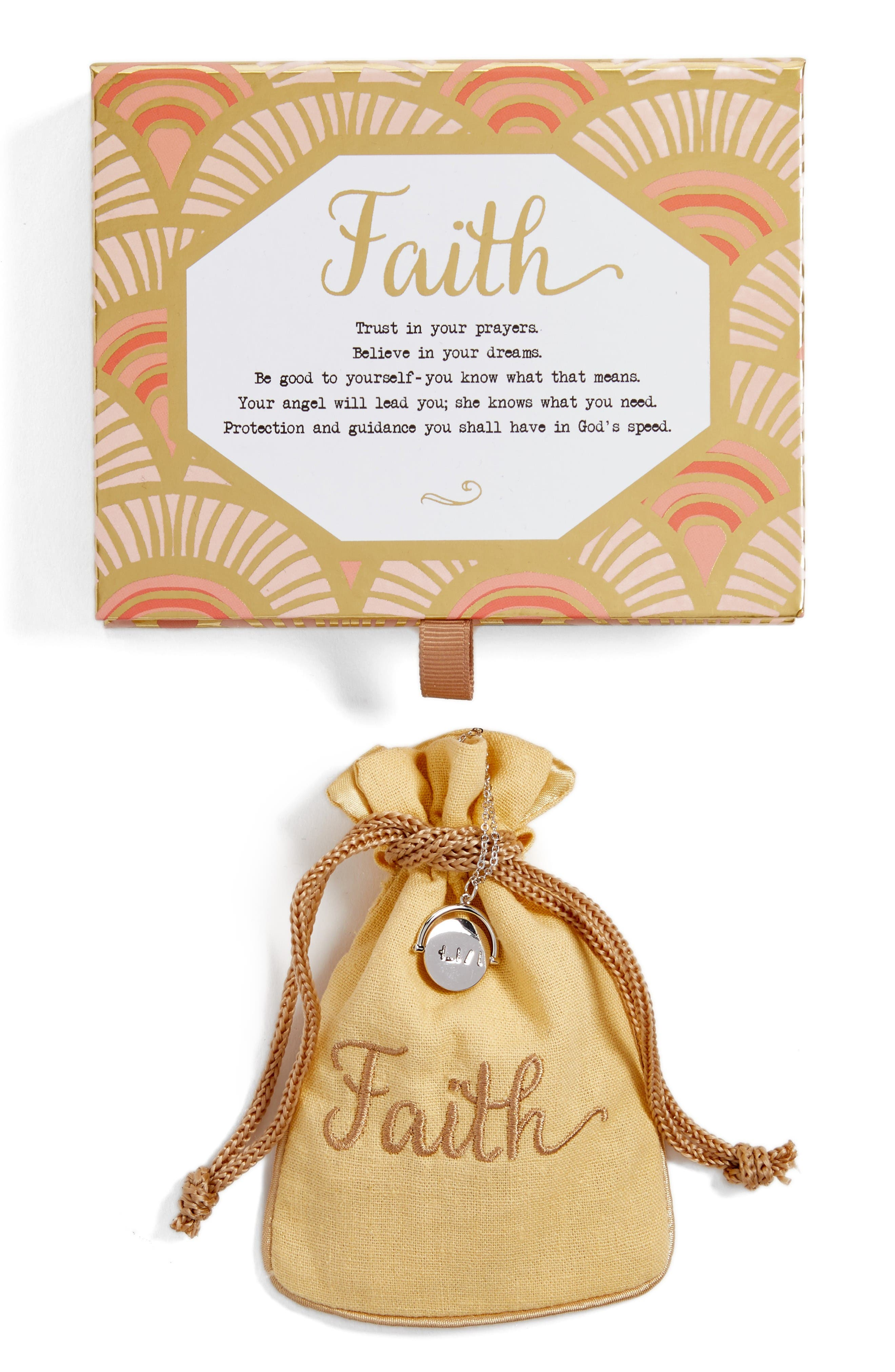 Faith Love Code Charm Necklace,                             Alternate thumbnail 2, color,                             Faith/ Silver