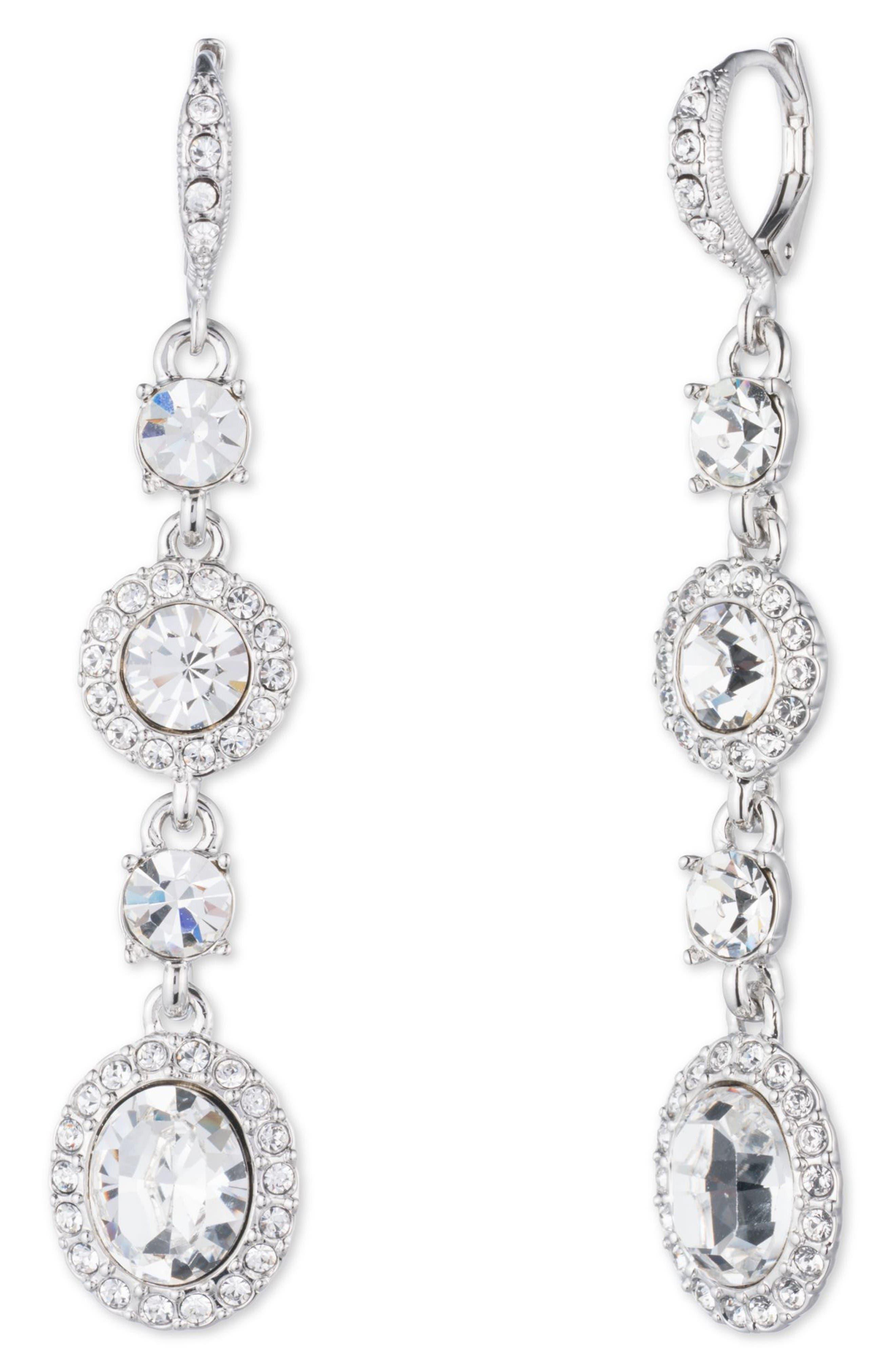 Crystal Linear Drop Earrings,                             Main thumbnail 1, color,                             Silver