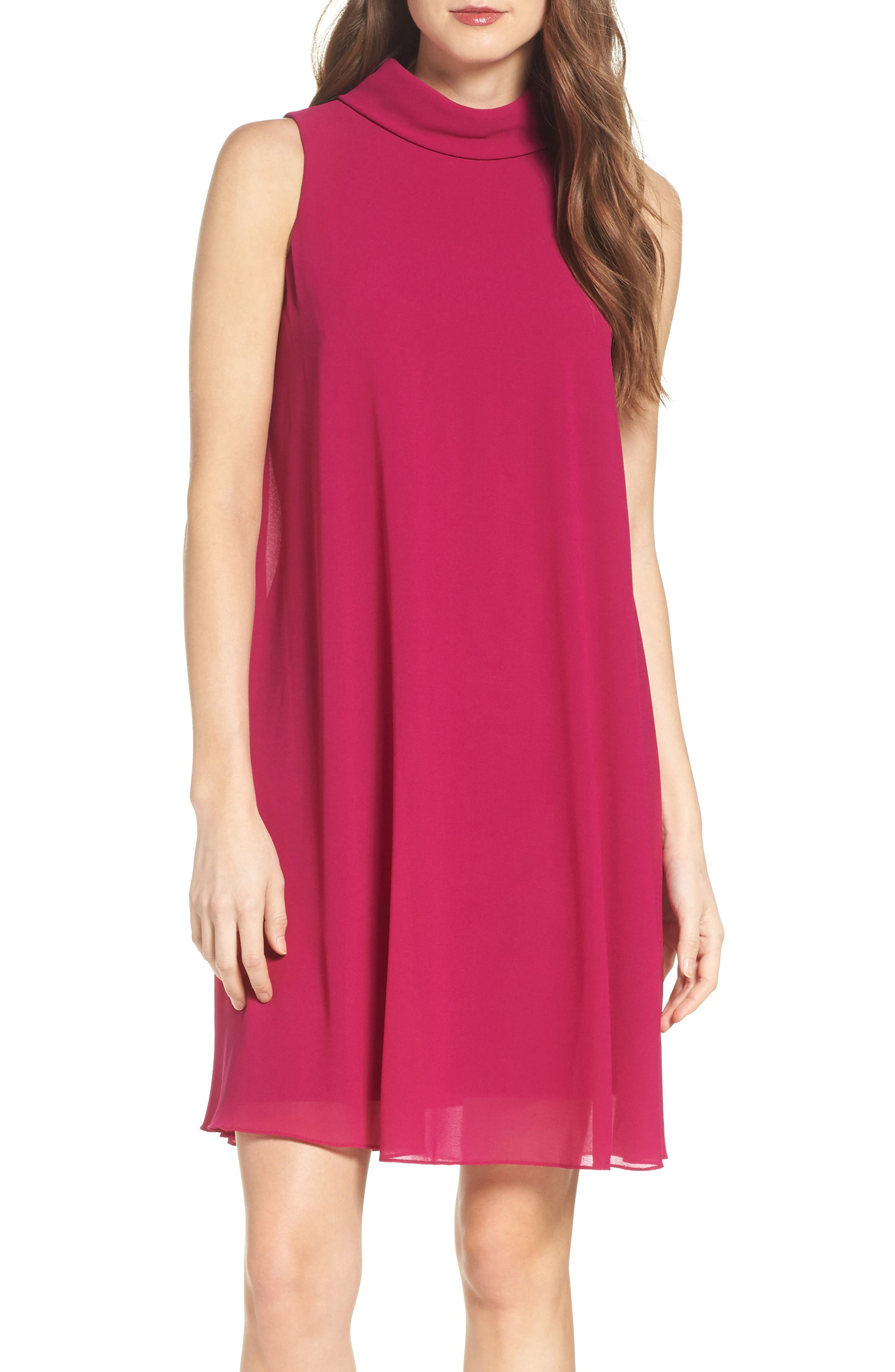 Mock Neck Chiffon Trapeze Dress,                         Main,                         color, Berry