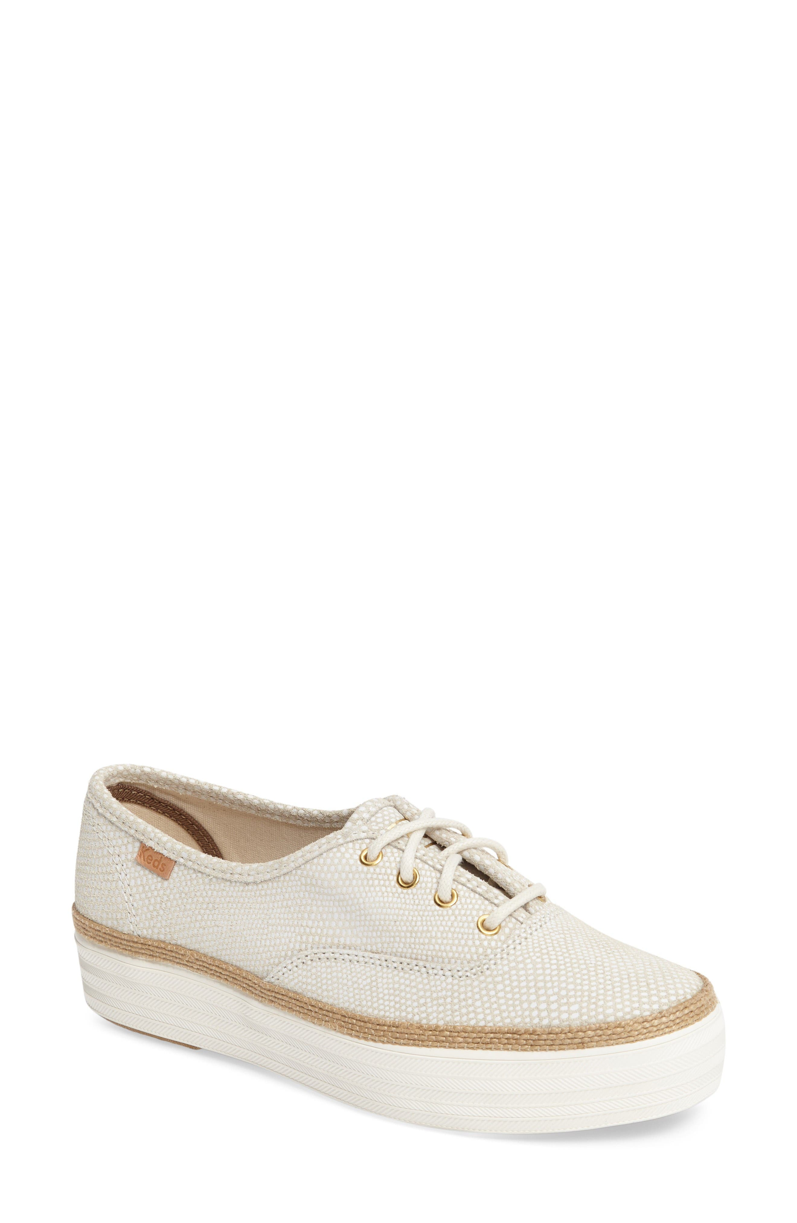 Triple Deck Platform Sneaker,                             Main thumbnail 1, color,                             Cream