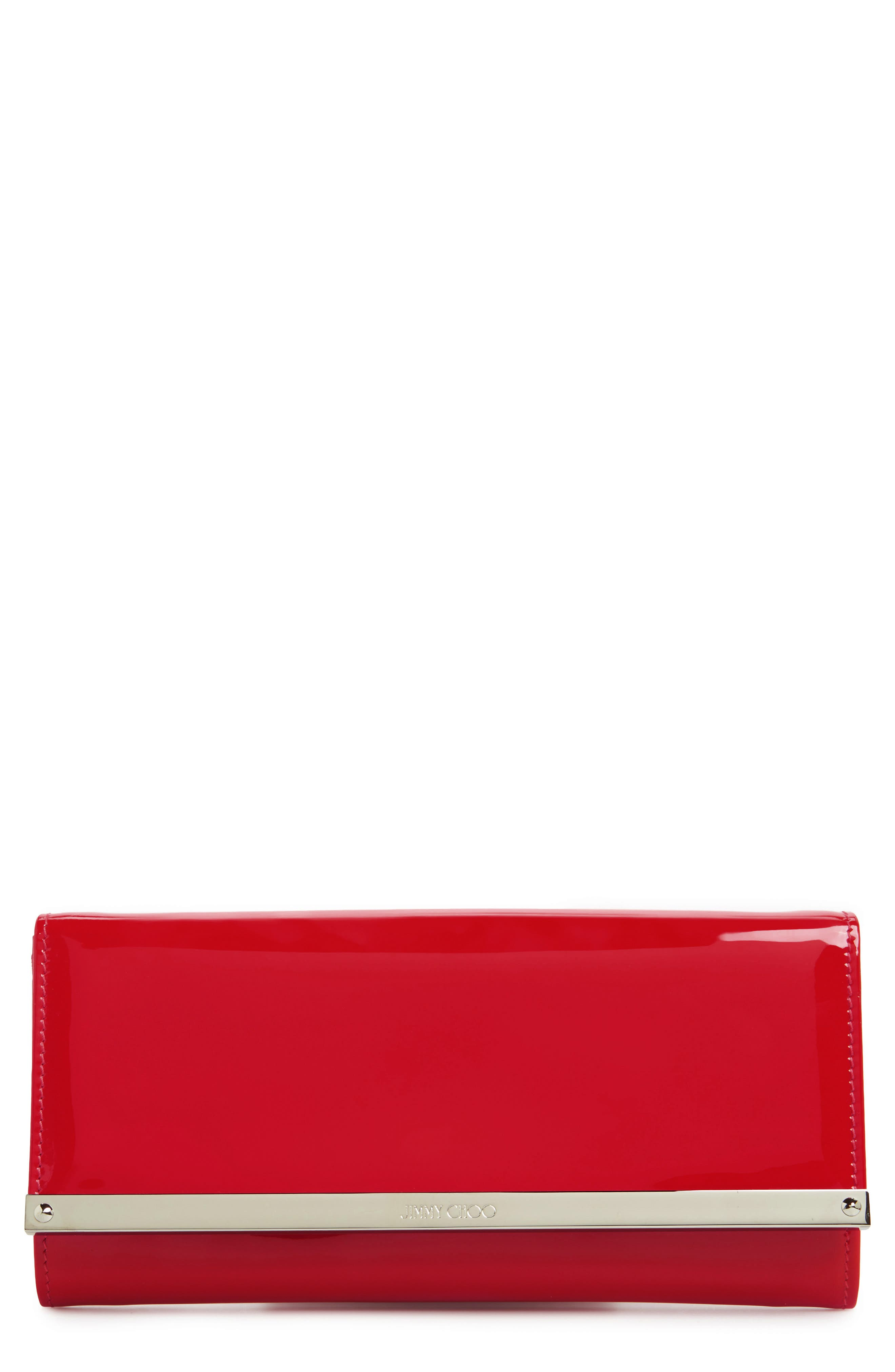 'Milla' Patent Leather Wallet on a Chain,                             Main thumbnail 1, color,                             Red