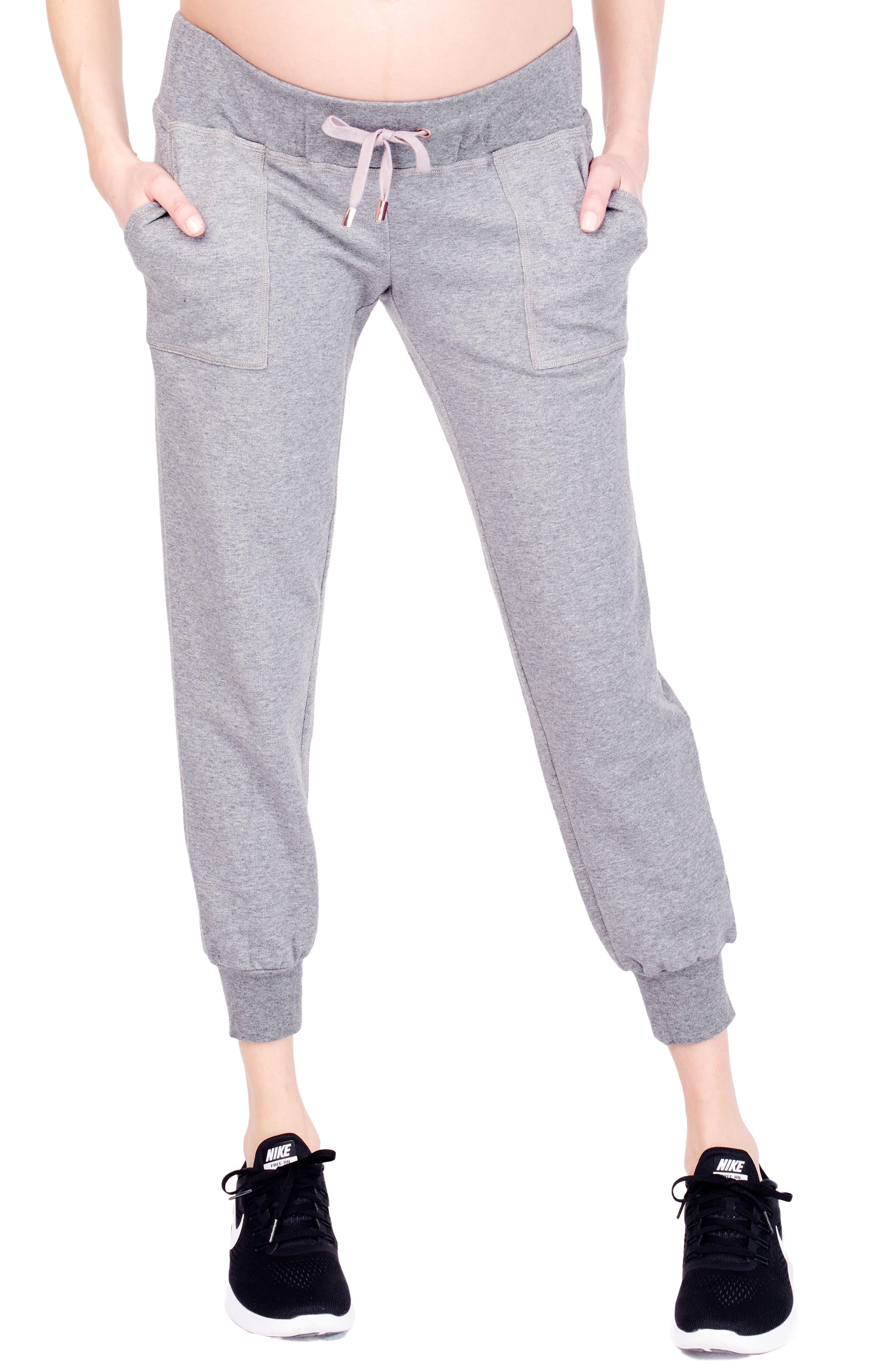 Cozy Fleece Maternity Jogger Pants,                             Main thumbnail 1, color,                             Medium Grey Heather