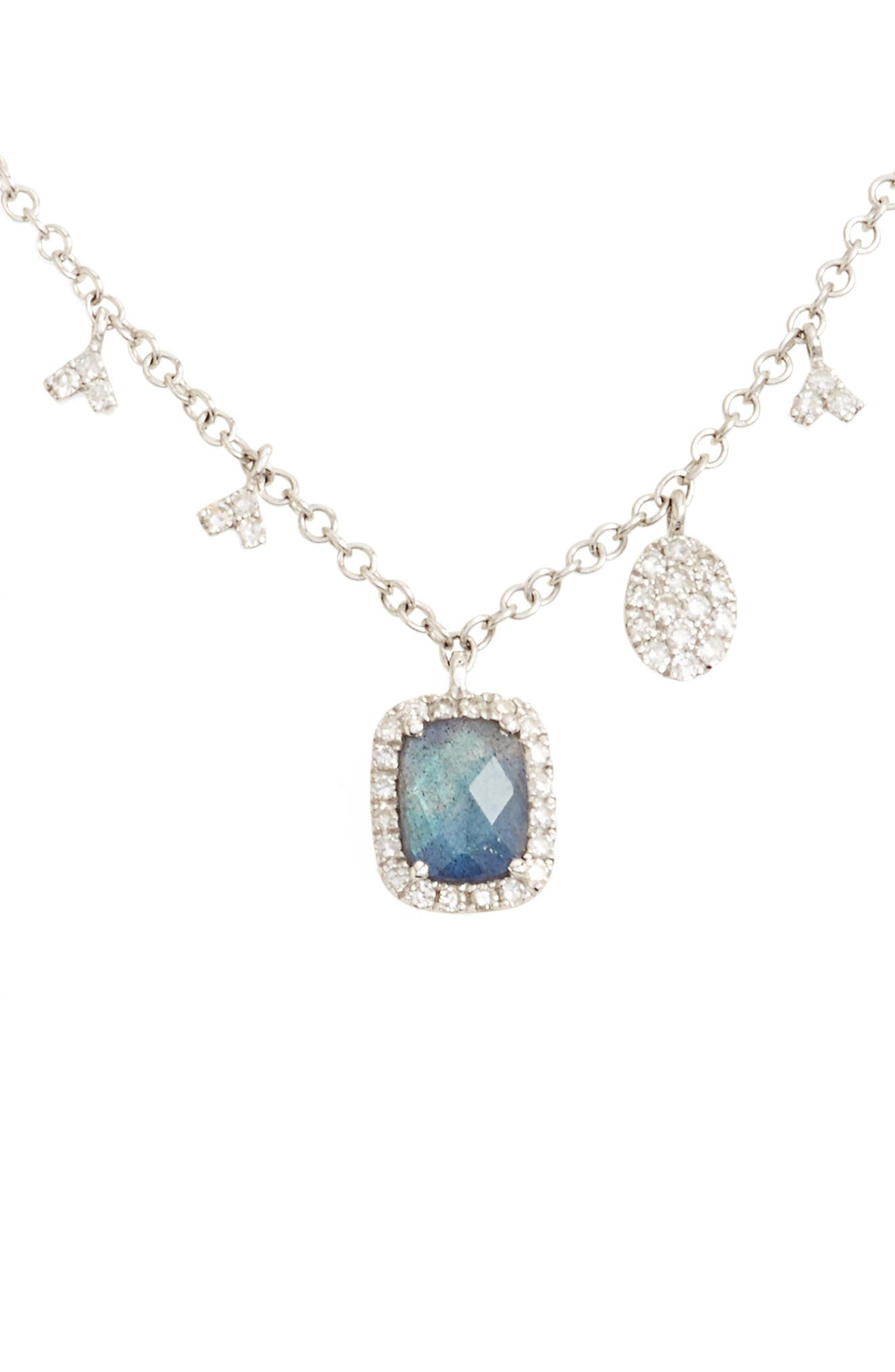 MEIRA T Diamond & Semiprecious Stone Dangle Charm Necklace