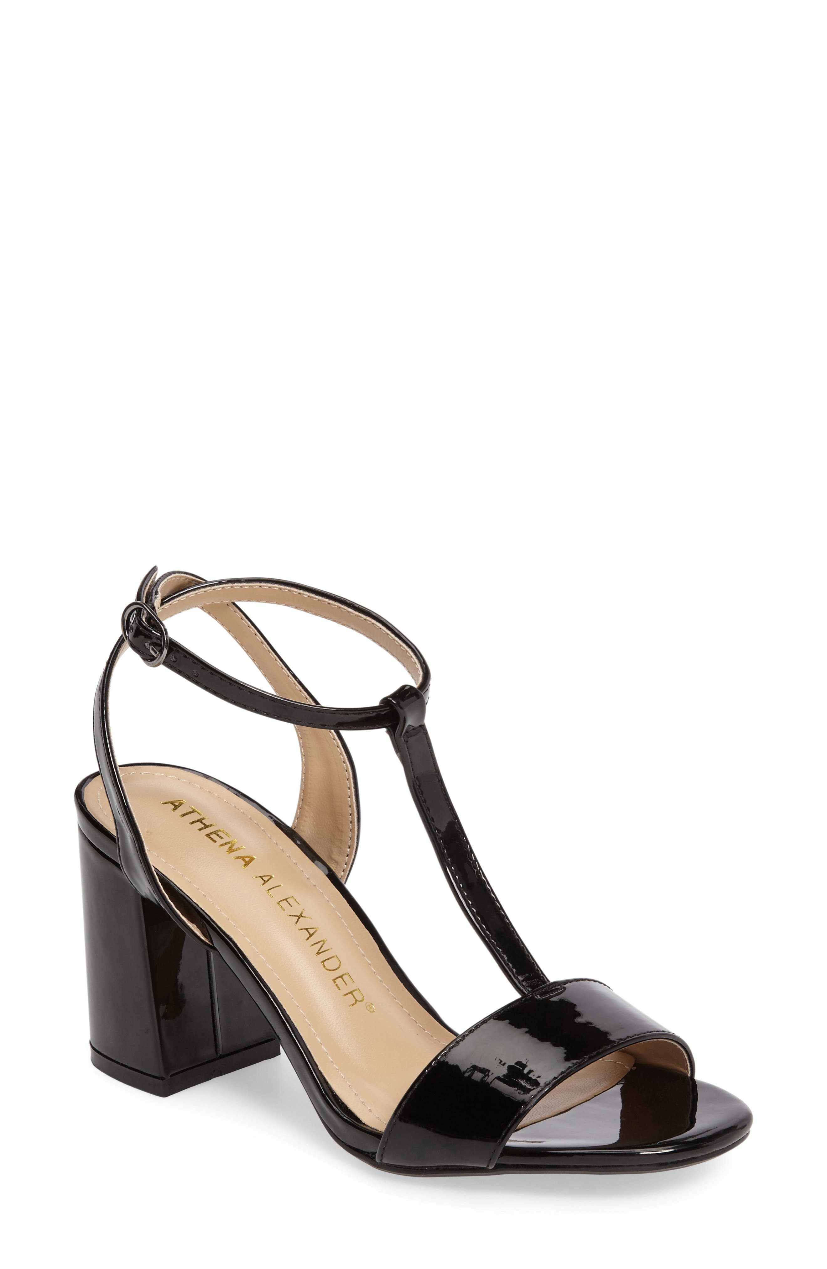 Ditaa T-Strap Sandal,                             Main thumbnail 1, color,                             Black Faux Patent
