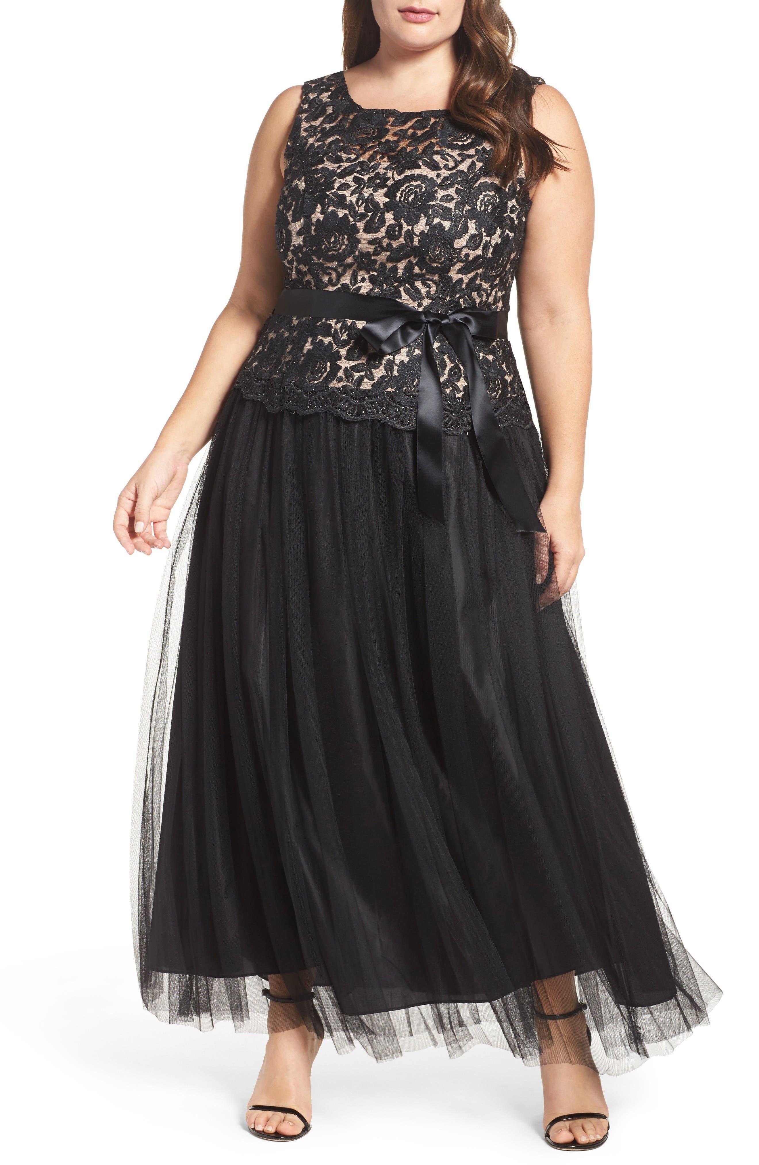 Illusion Lace & Mesh Gown,                         Main,                         color, Black