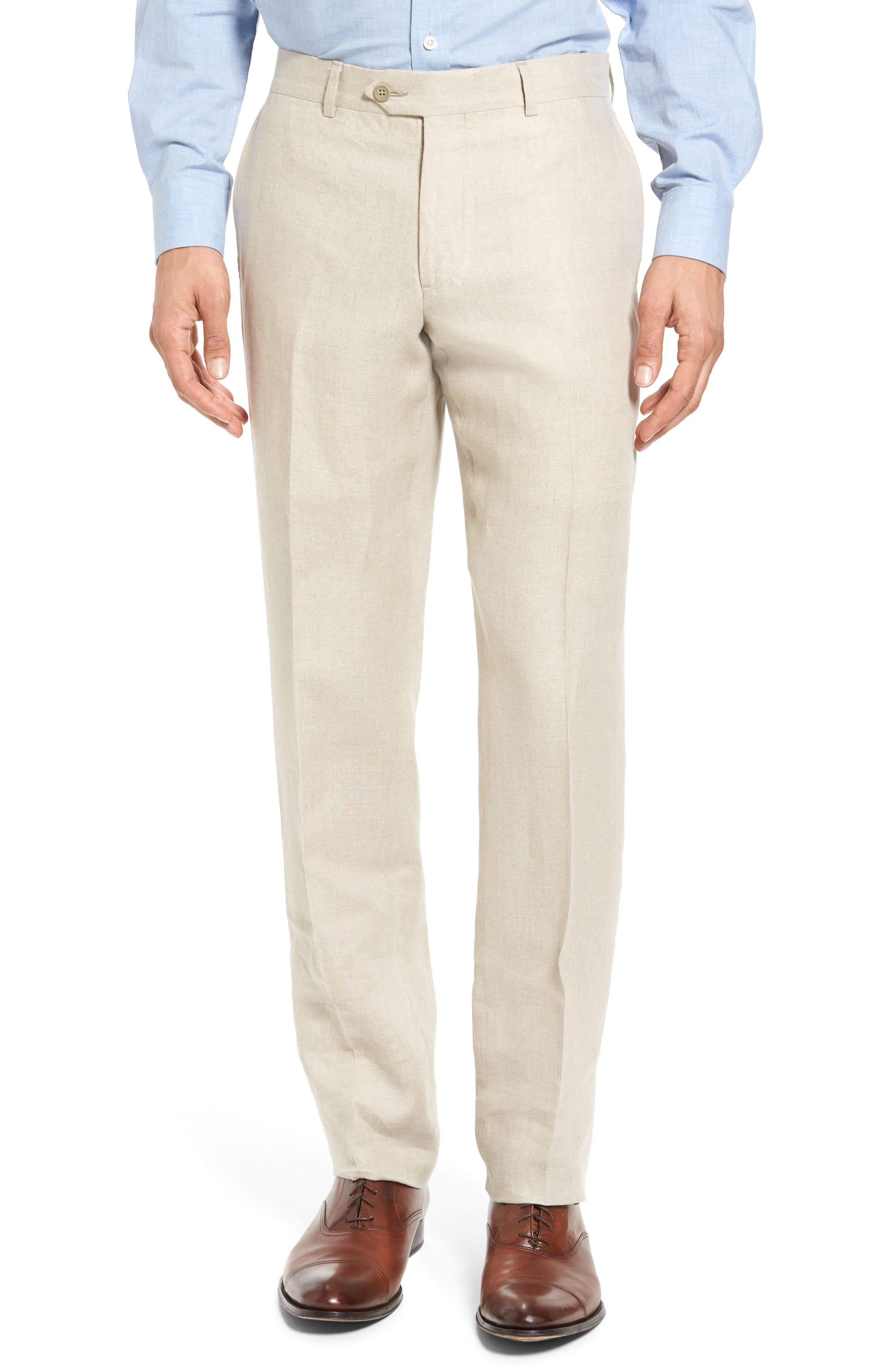 Nordstrom Men's Shop Flat Front Solid Linen Trousers