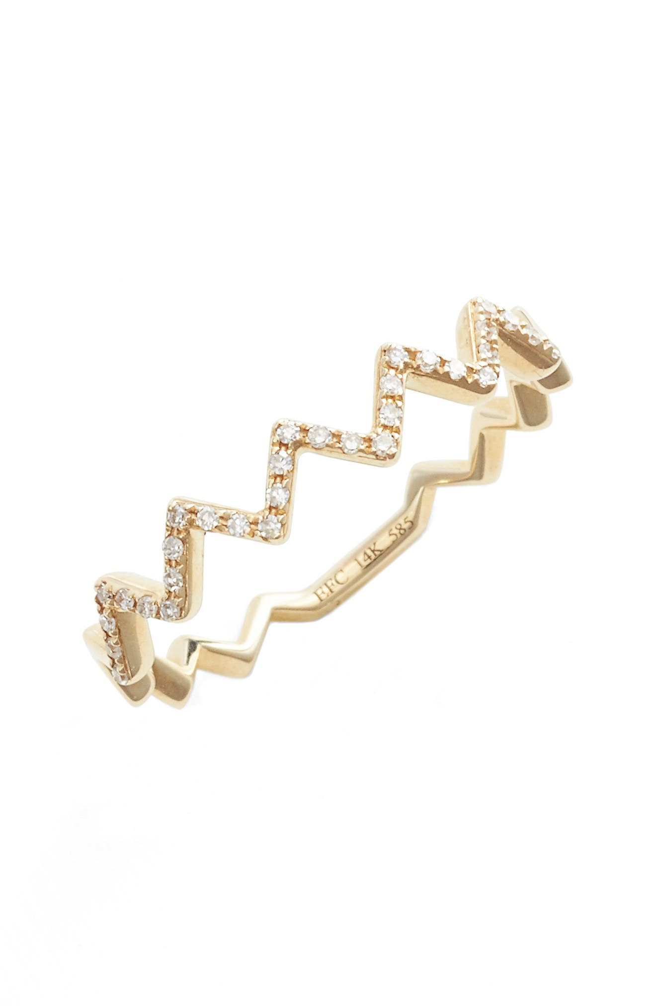 Main Image - EF COLLECTION Zigzag Diamond Stack Ring
