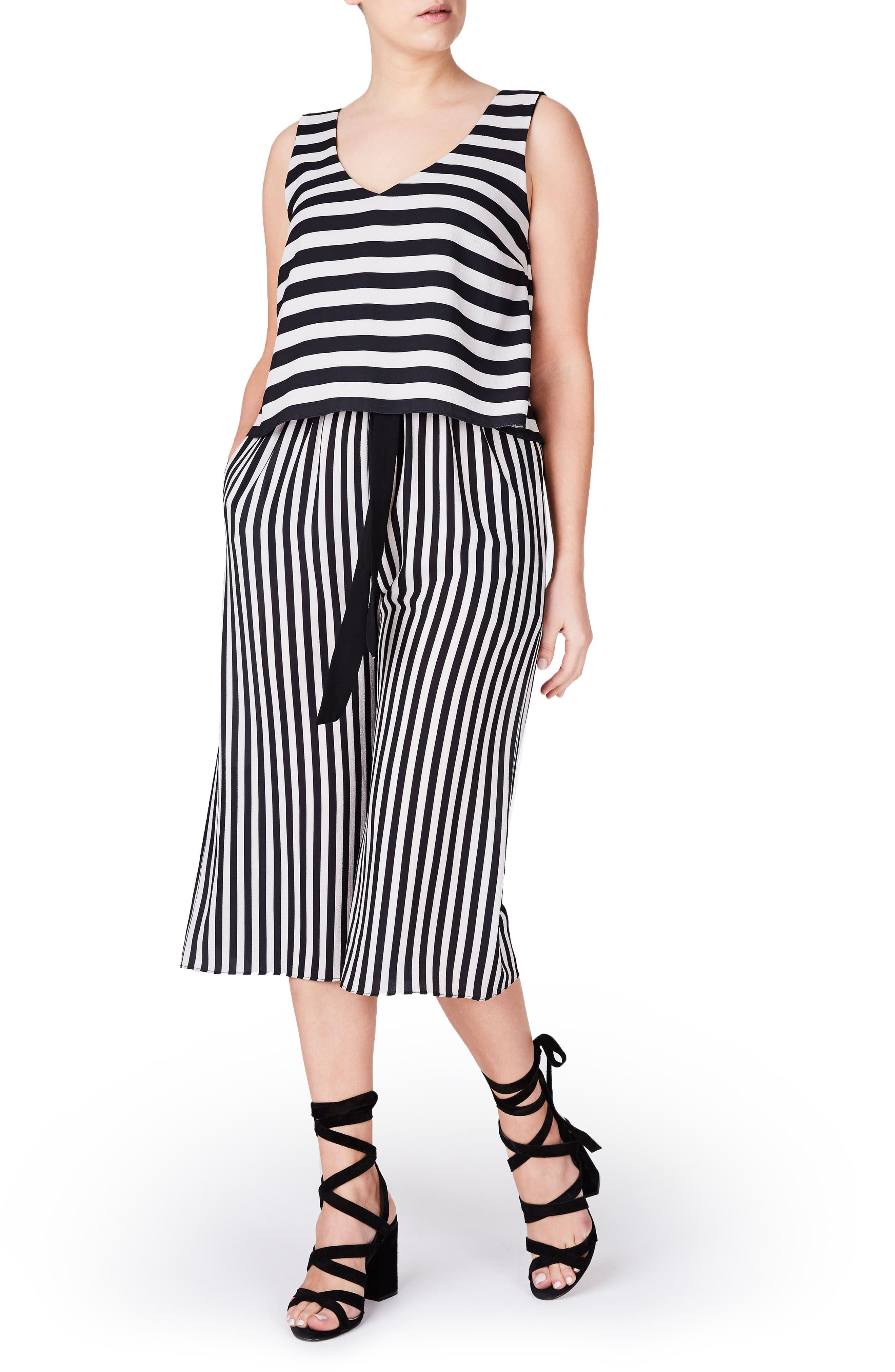 ELVI Stripe Jumpsuit (Plus Size)
