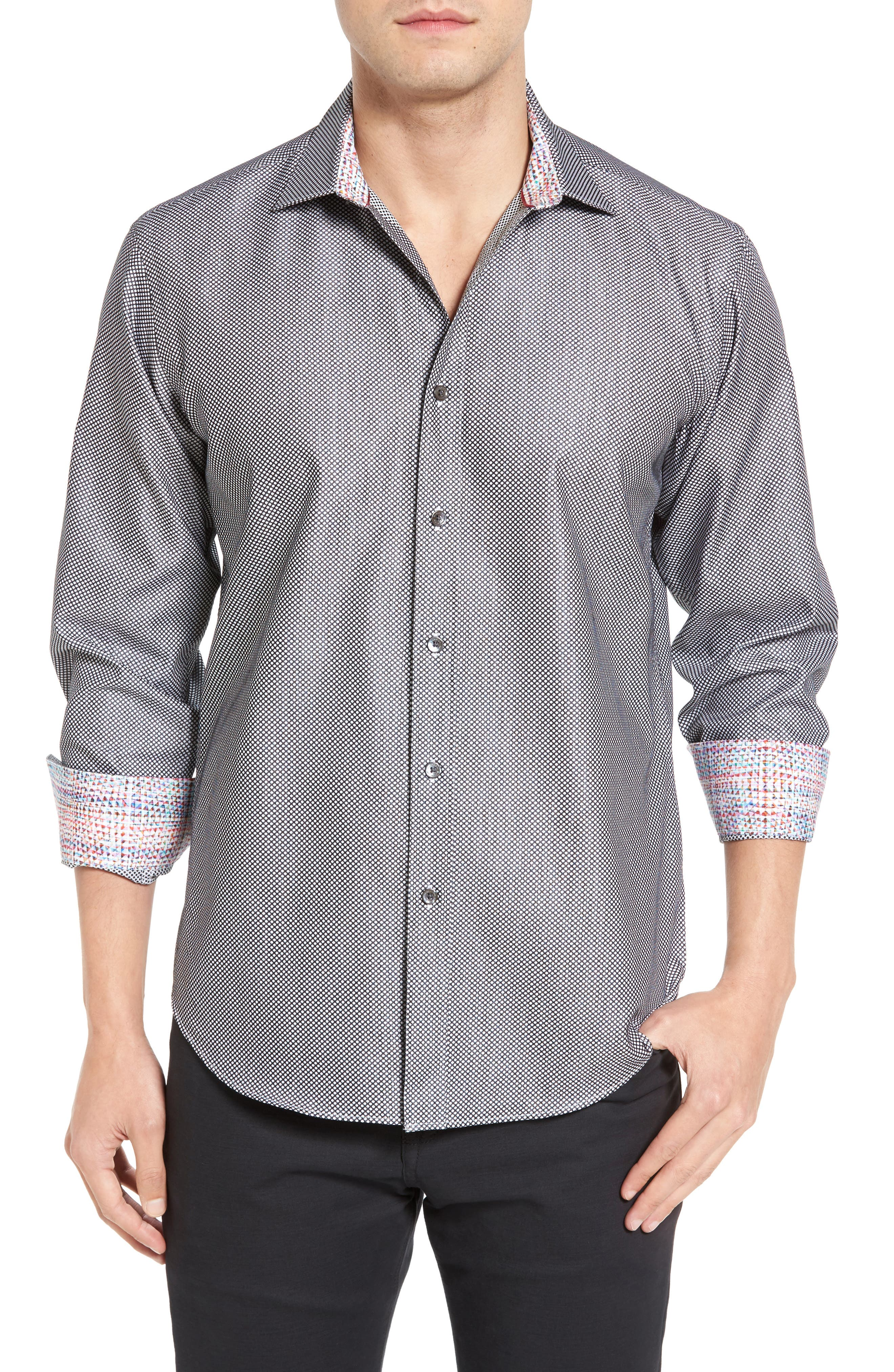 Shaped Fit Textured Sport Shirt,                         Main,                         color, Black