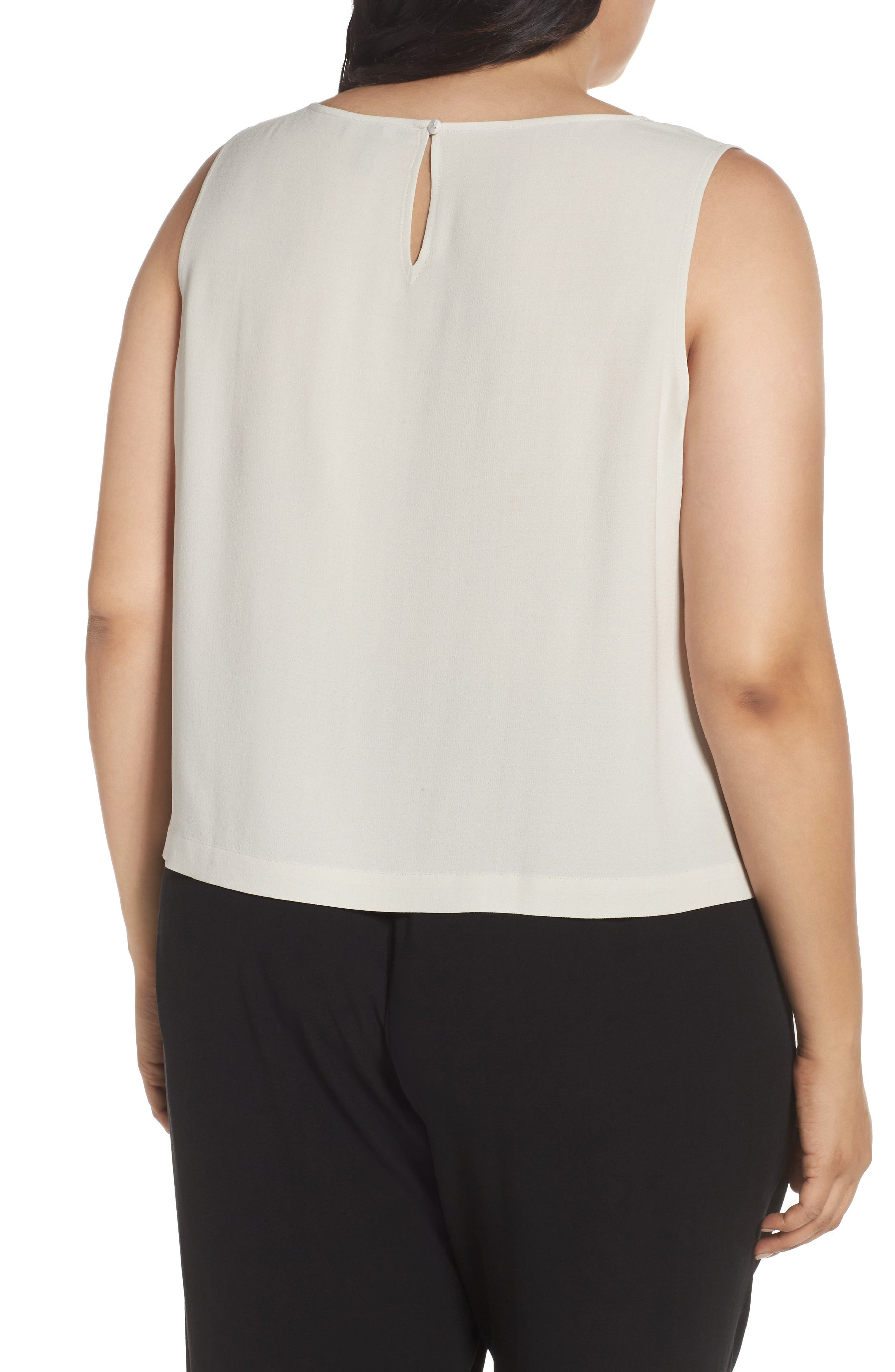 Alternate Image 2  - Eileen Fisher Silk Georgette Crepe Shell (Plus Size)