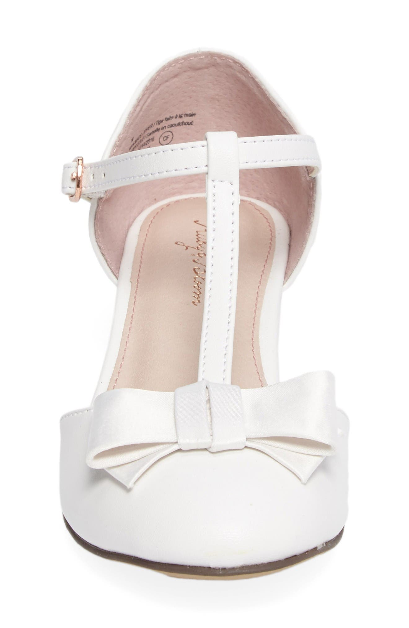Wylow T-Strap Bow Pump,                             Alternate thumbnail 4, color,                             White Faux Leather
