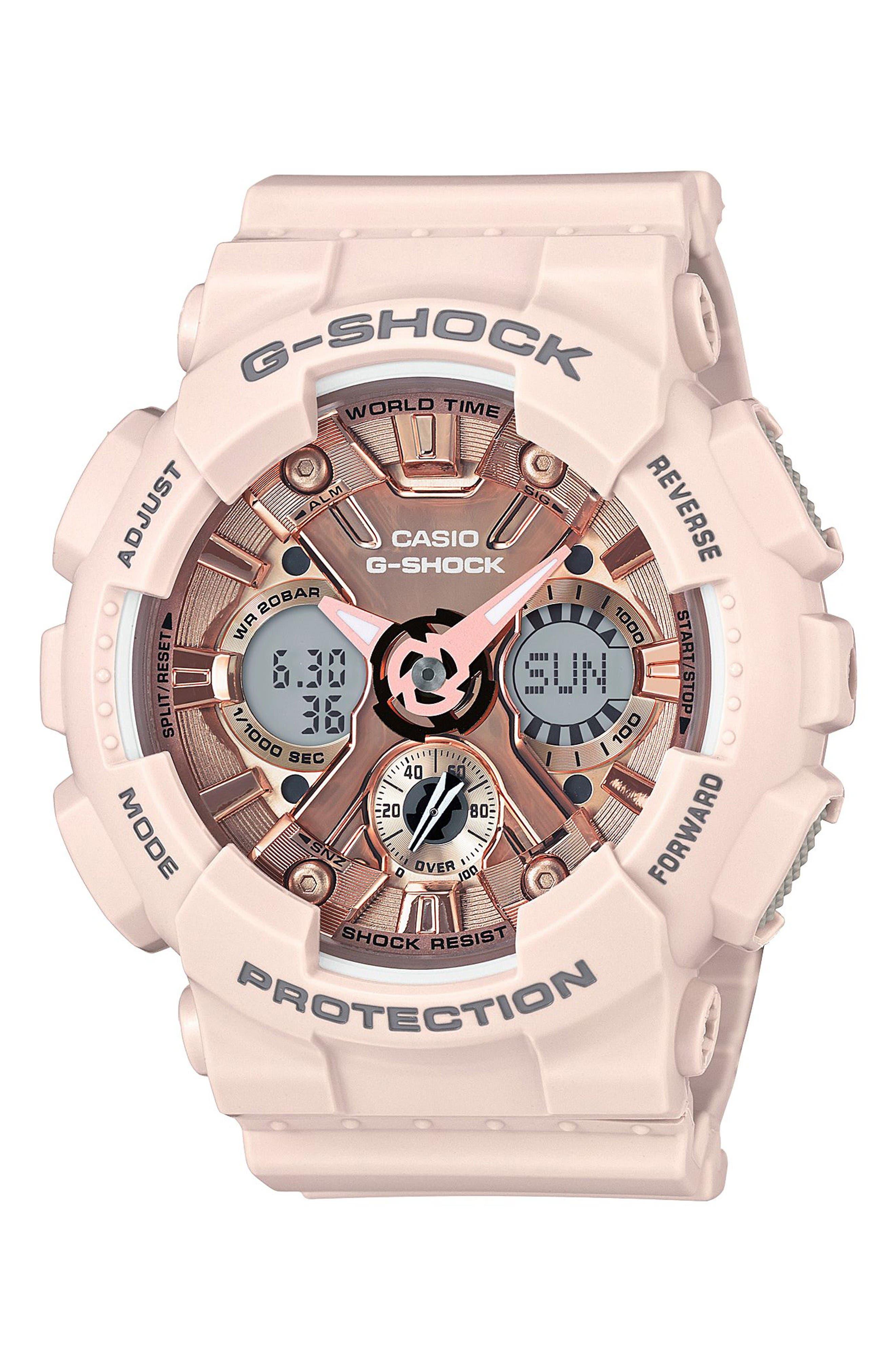 G-Shock S-Series Ana-Digi Watch, 49mm,                         Main,                         color, Light Pink/ Rose Gold