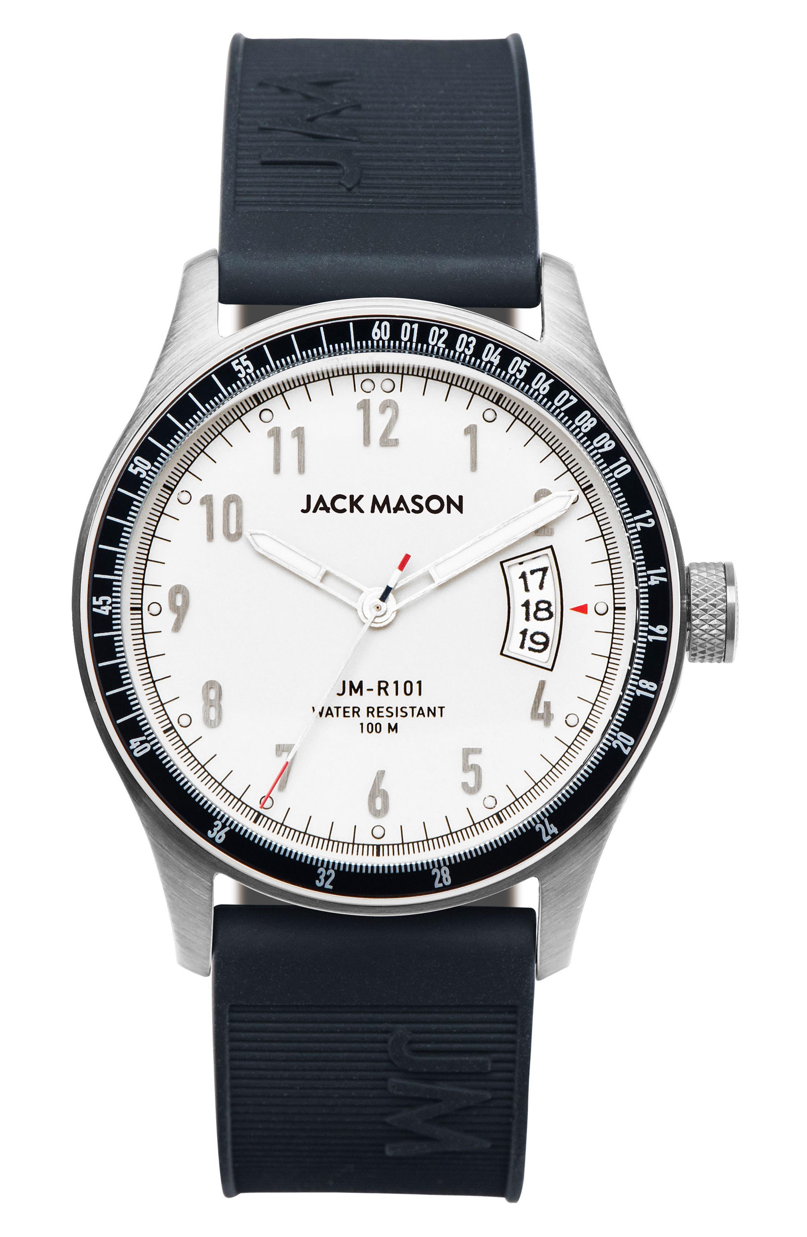 Jack Mason Racing Rubber Strap Watch, 46mm