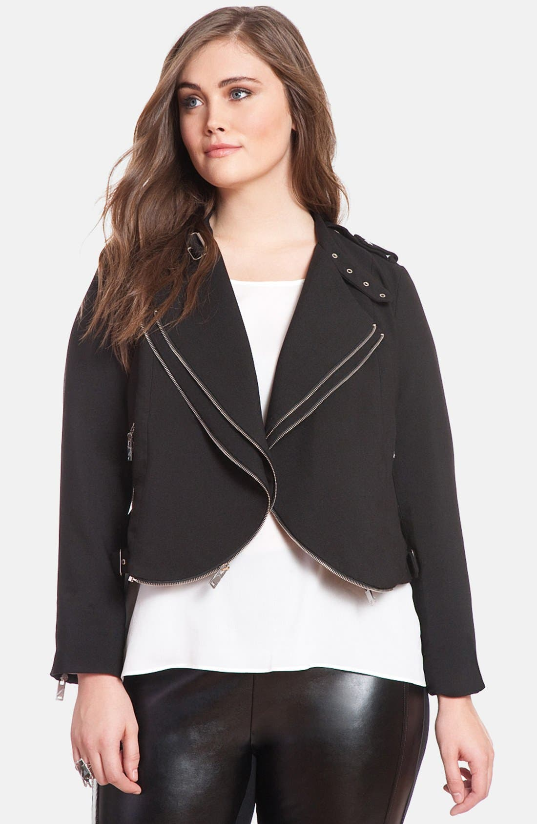 Main Image - ELOQUII Double Zip Drape Crop Jacket (Plus Size)