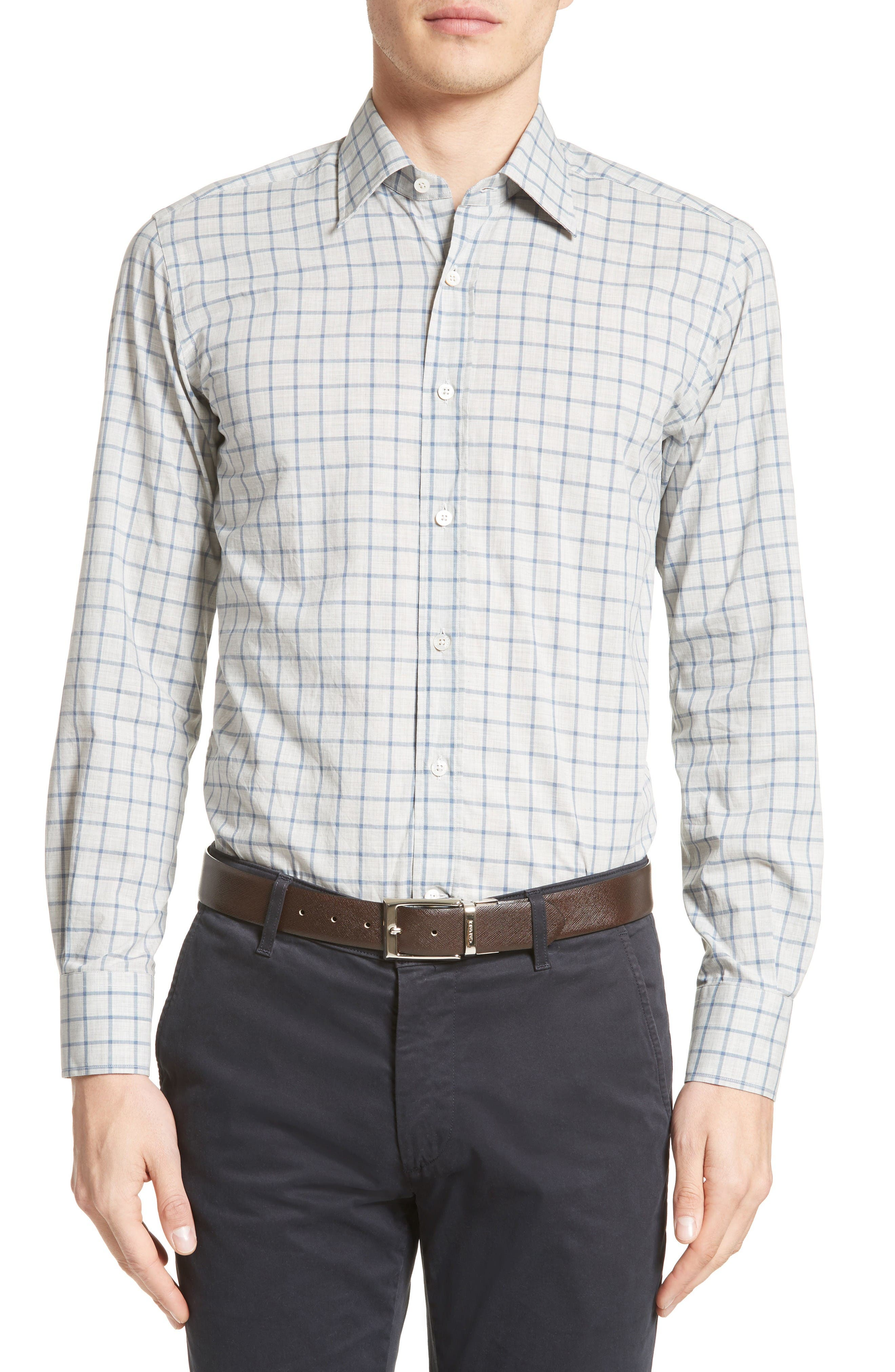 Canali Regular Fit Windowpane Plaid Sport Shirt