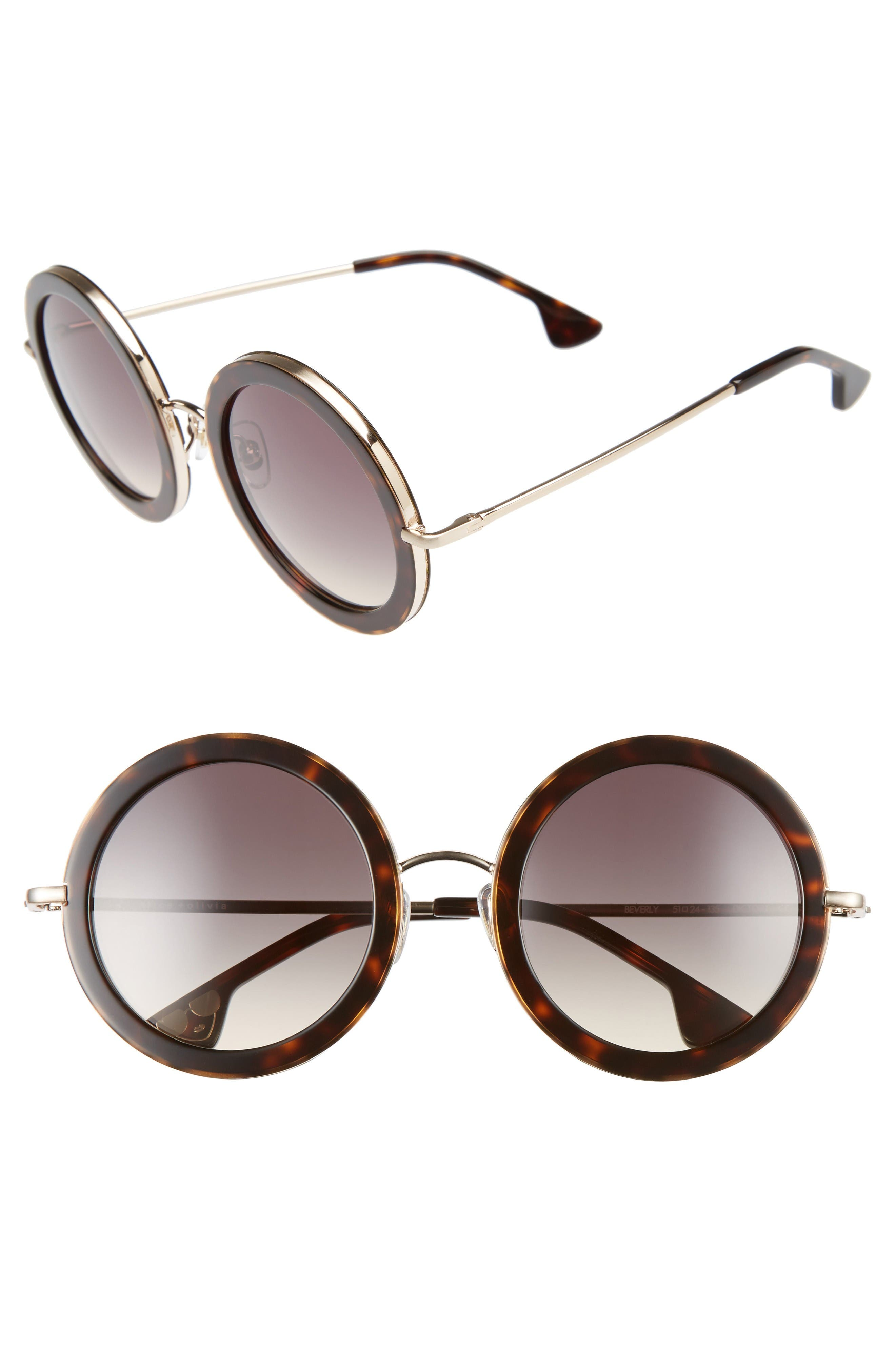 Alice + Olivia Beverly 51mm Special Fit Round Sunglasses