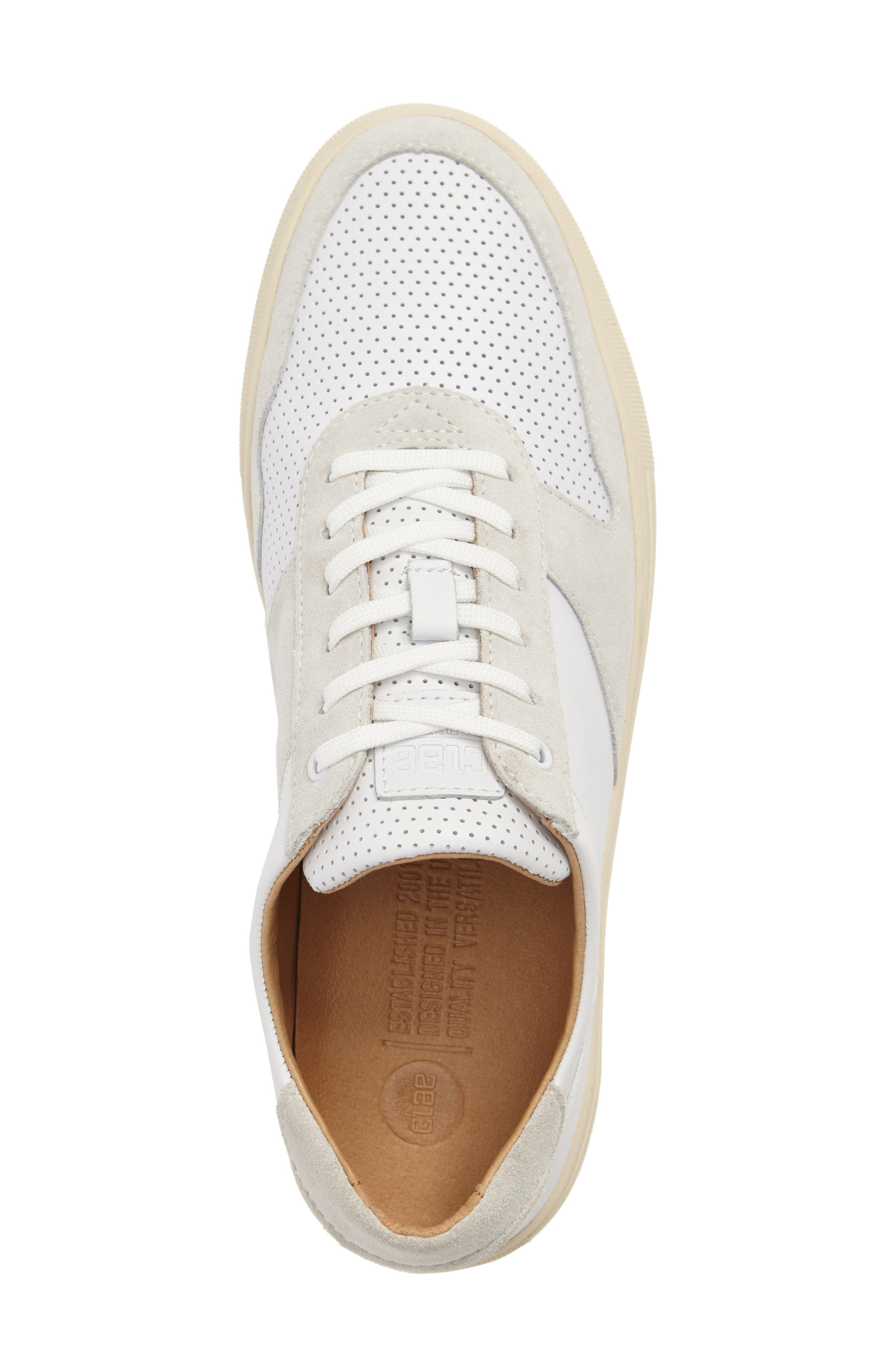'Gregory' Sneaker,                             Alternate thumbnail 5, color,                             White Leather