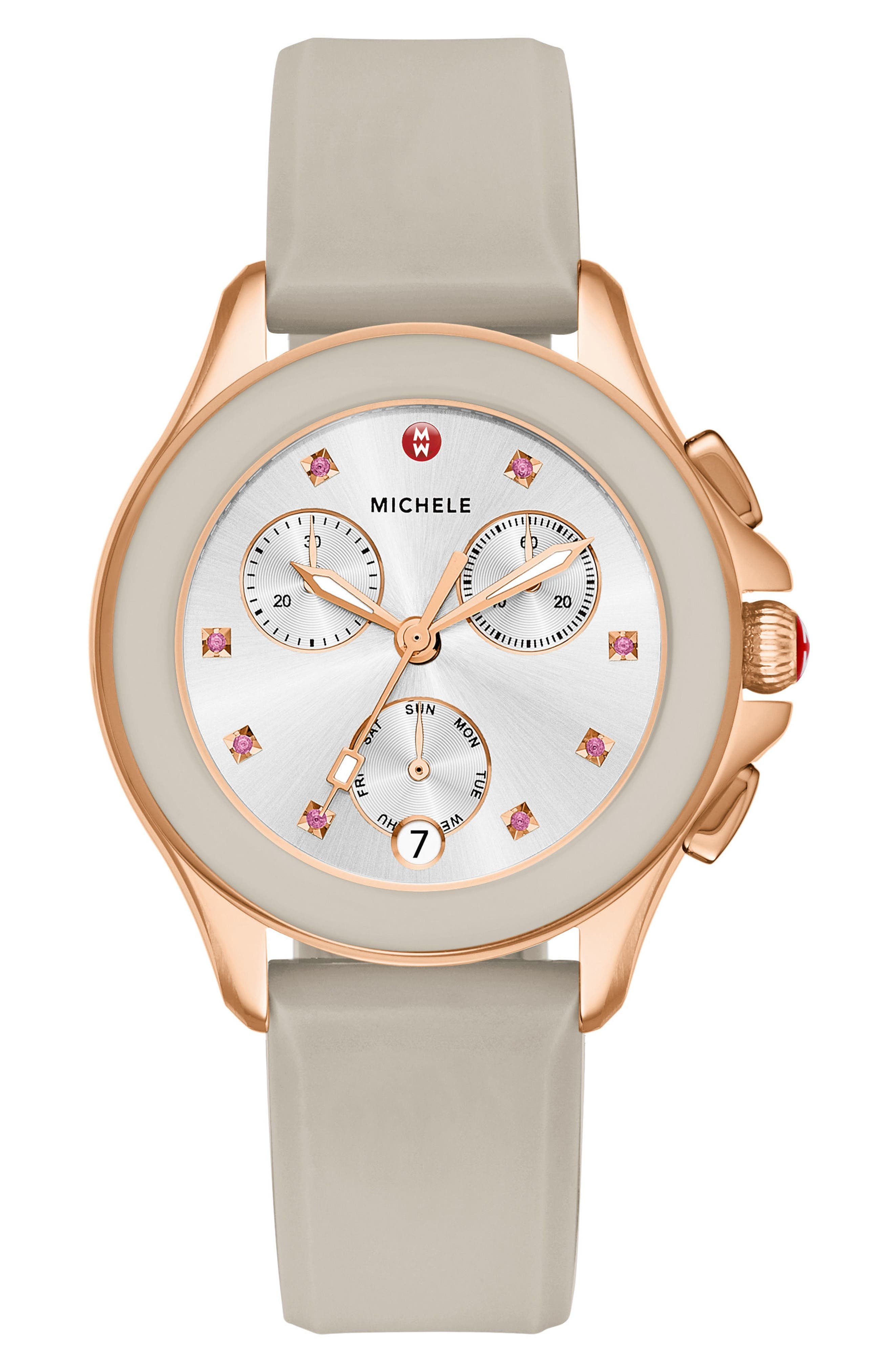 Cape Chronograph Silicone Strap Watch, 34mm,                             Main thumbnail 1, color,                             Taupe/ Rose Gold