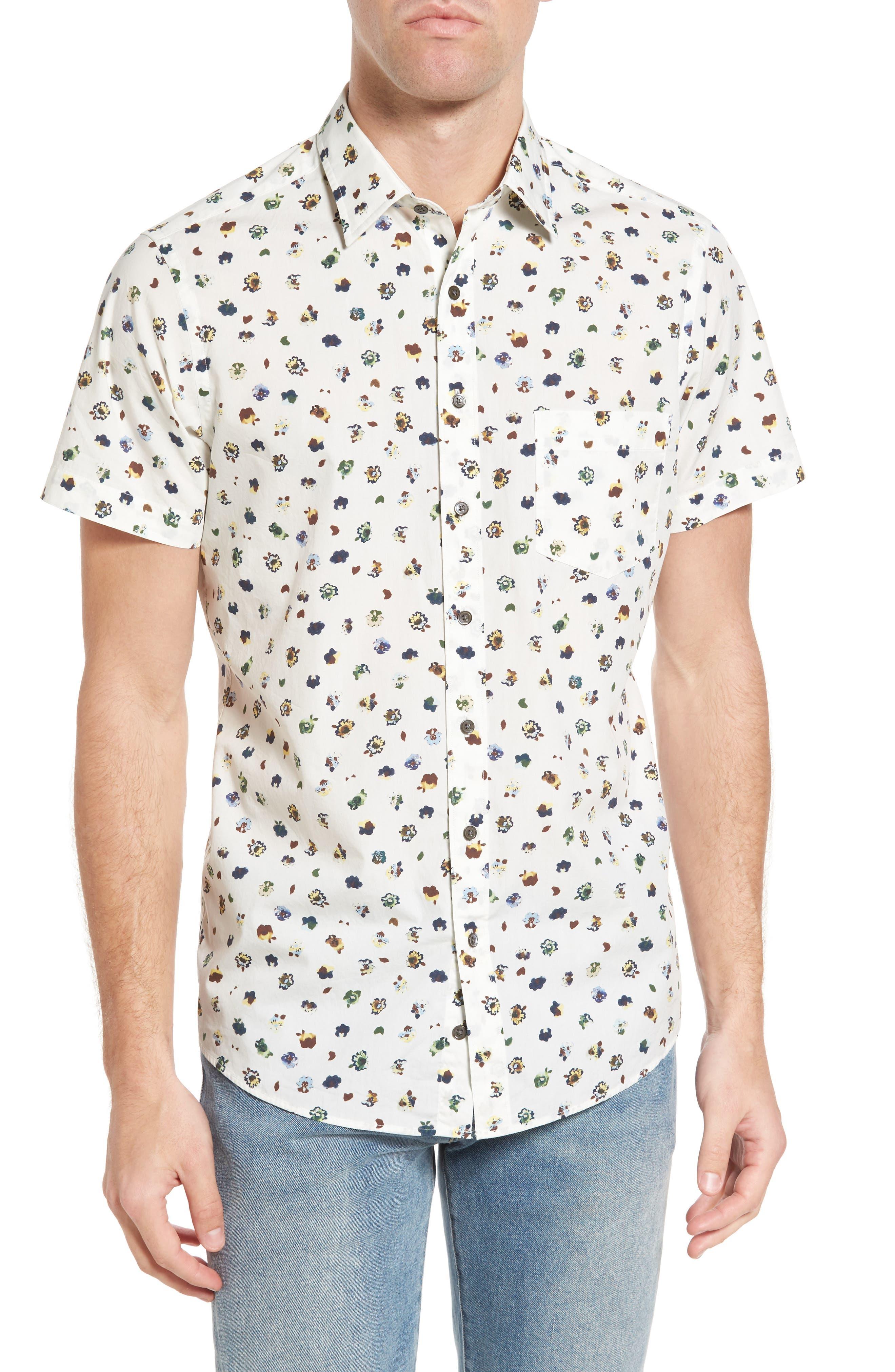 Linton Park Sports Fit Sport Shirt,                         Main,                         color, Ivory