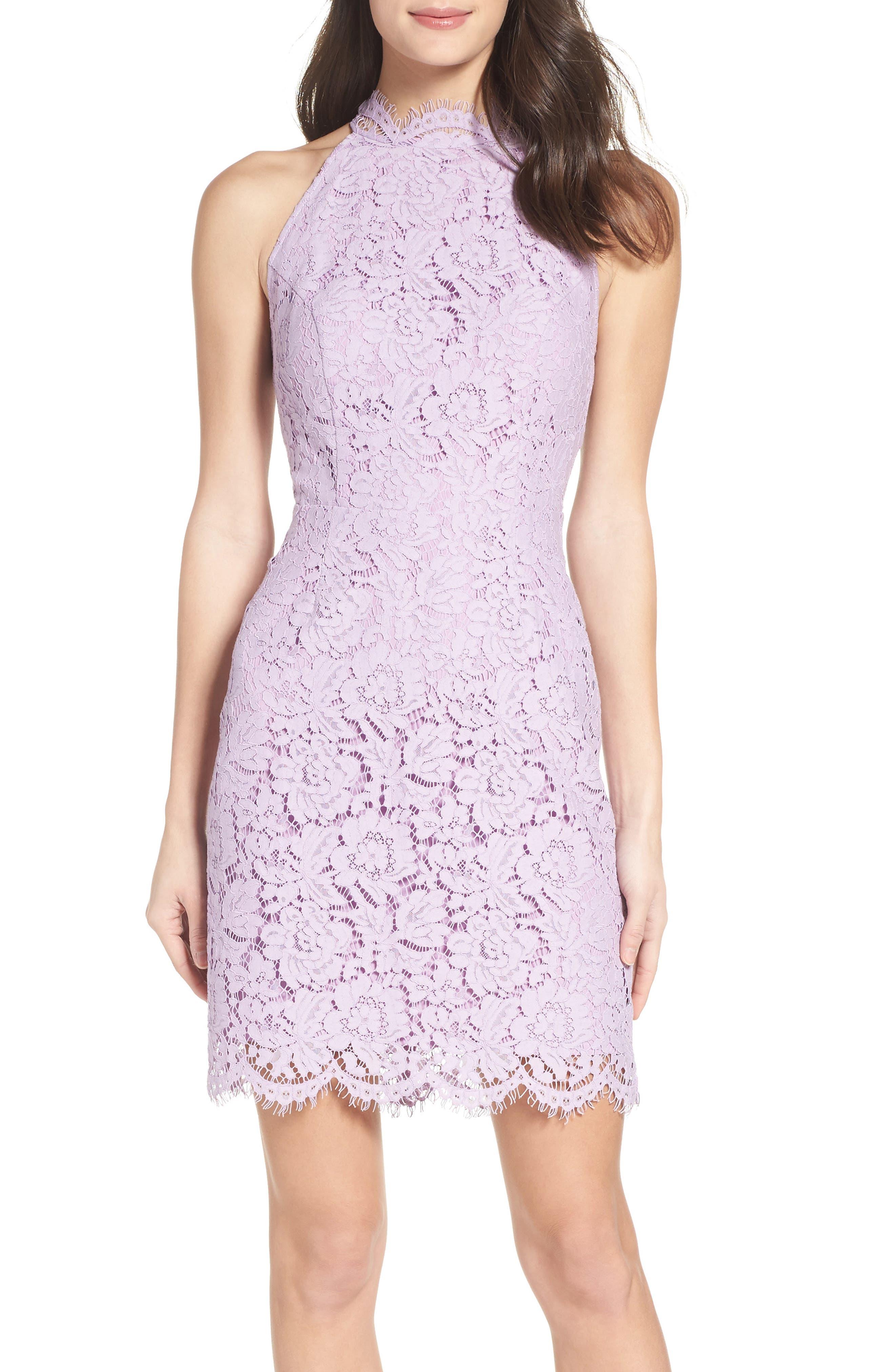 'Cara' High Neck Lace Dress,                             Alternate thumbnail 4, color,                             Lavender