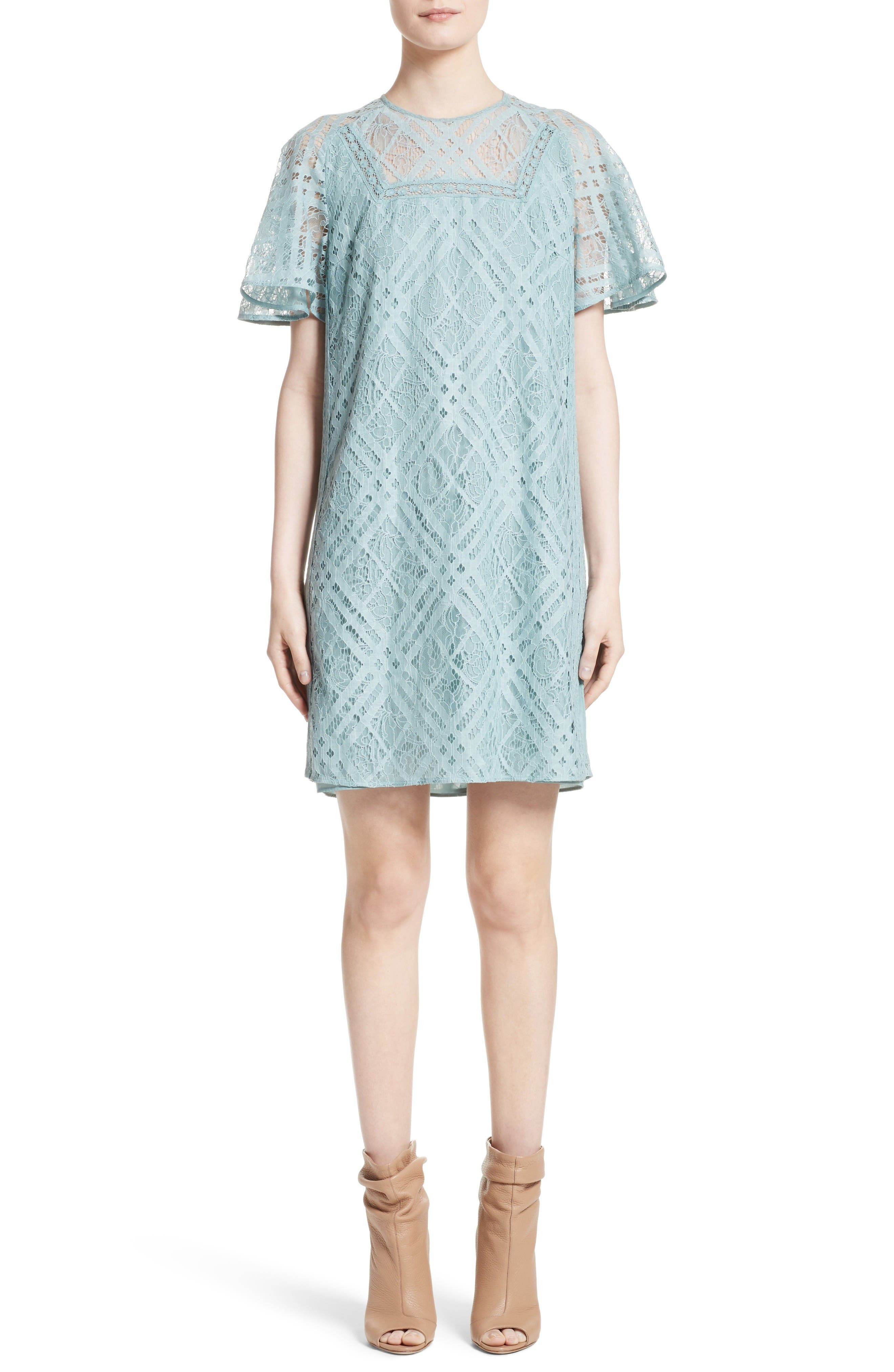 Keri Floral Check Lace Dress,                             Main thumbnail 1, color,                             Pale Slate Blue