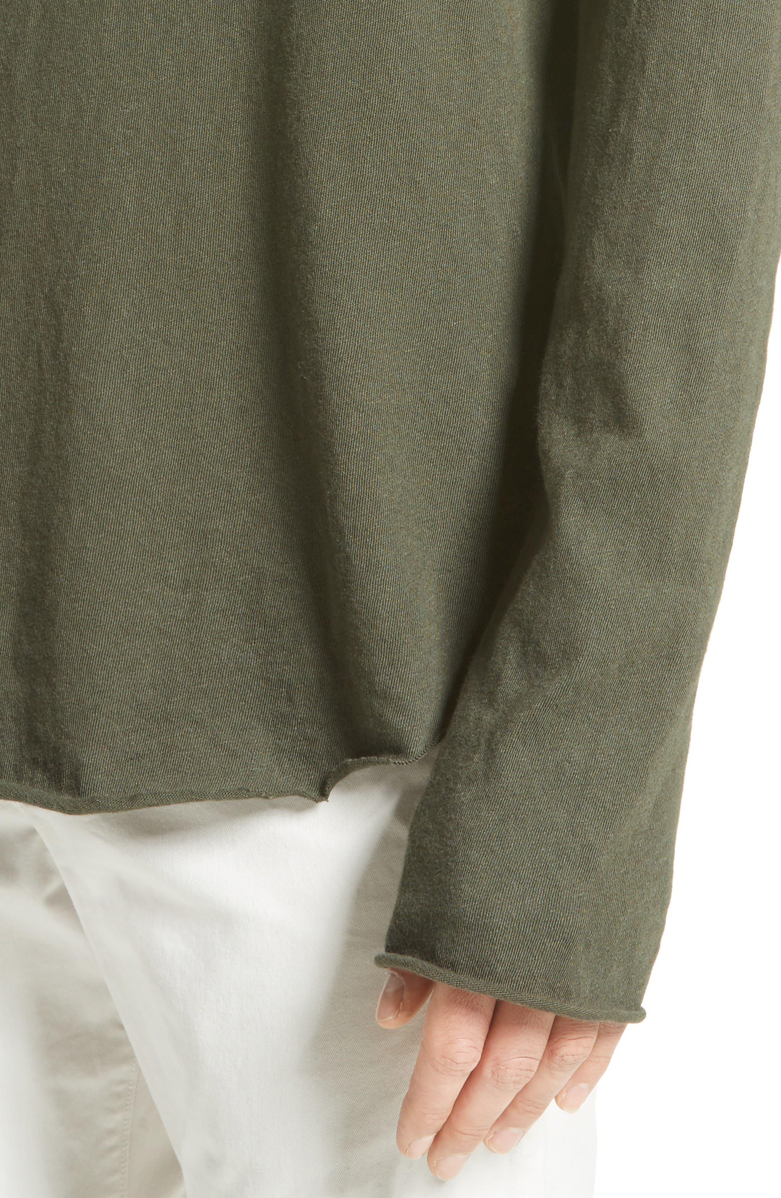 Hartley Cotton & Linen T-Shirt,                             Alternate thumbnail 4, color,                             Dark Olive