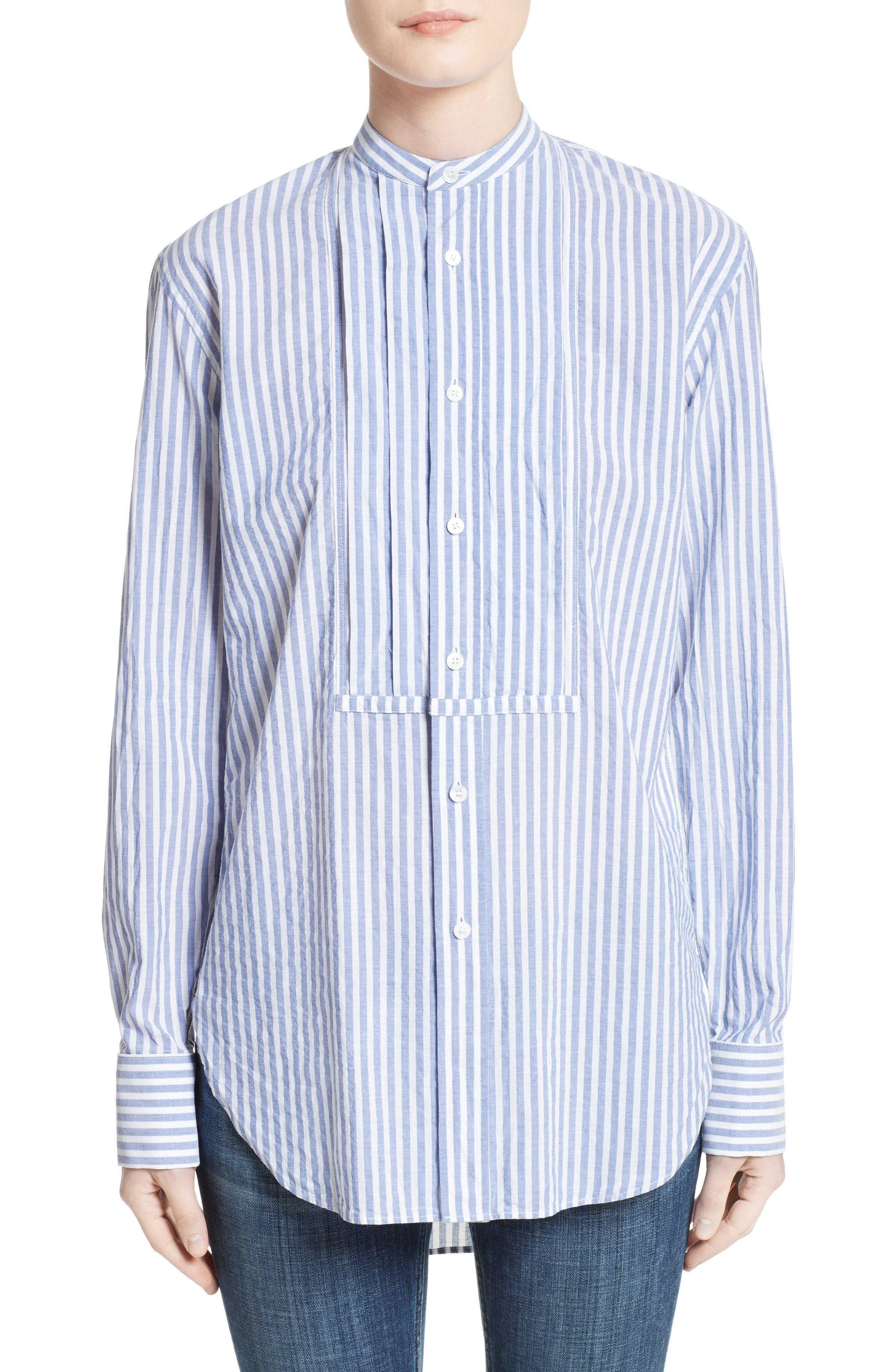 Benfleet Stripe Cotton Top,                         Main,                         color, Pale Blue/ White