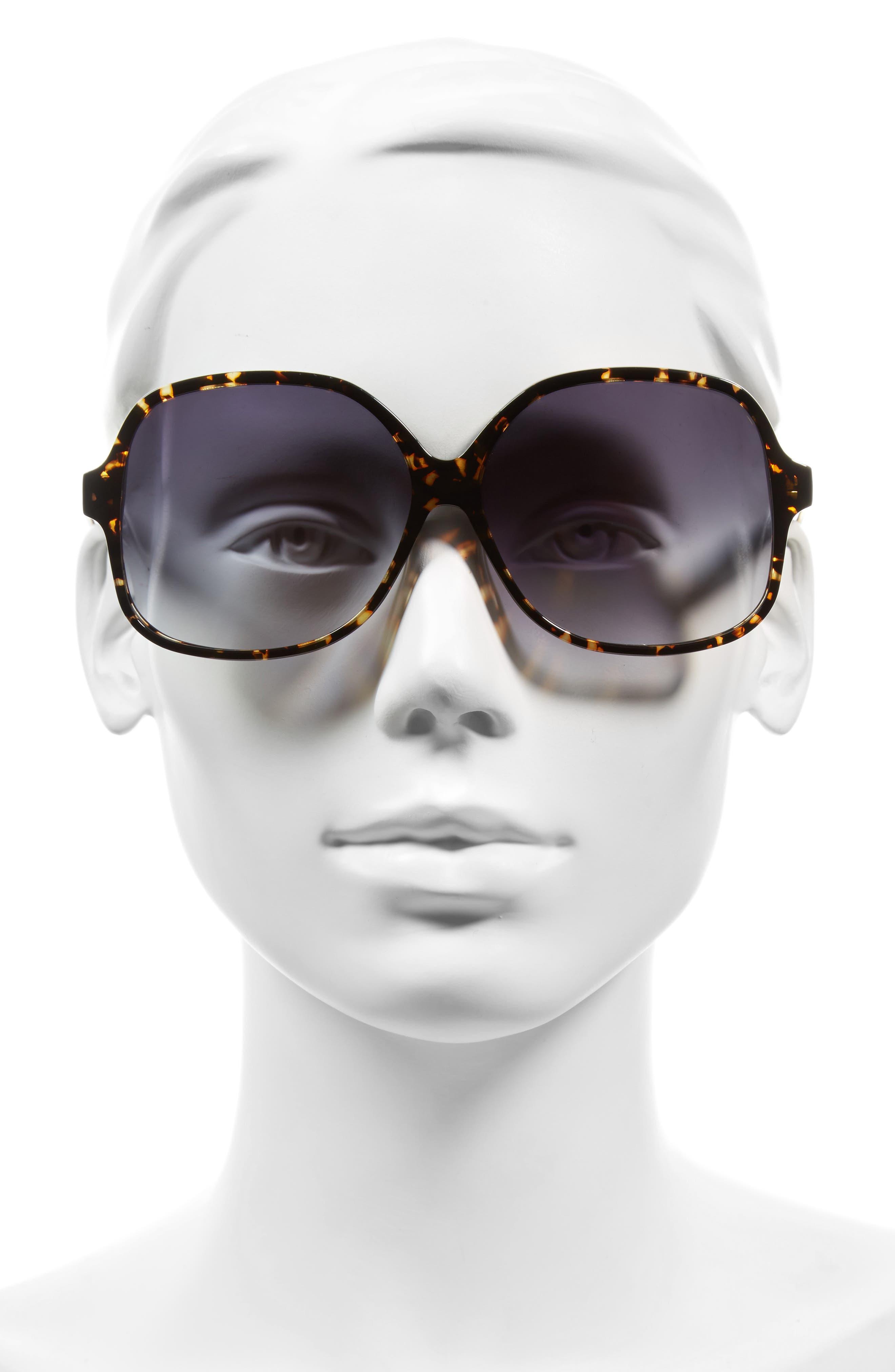 Classic 61mm Gradient Lens Square Sunglasses,                             Alternate thumbnail 2, color,                             Amber Tortoise