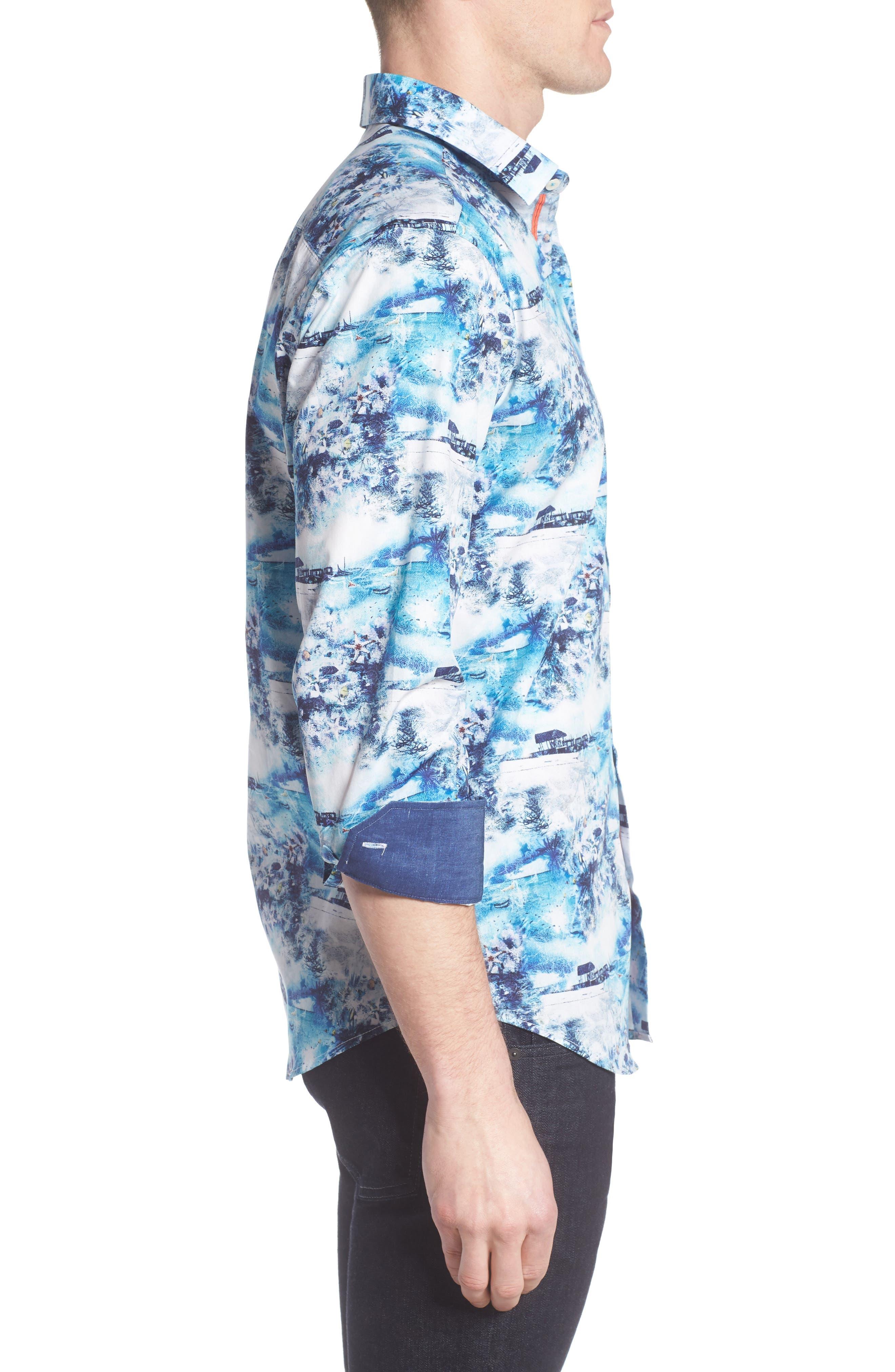 Shaped Fit Ocean Print Sport Shirt,                             Alternate thumbnail 3, color,                             Turquoise