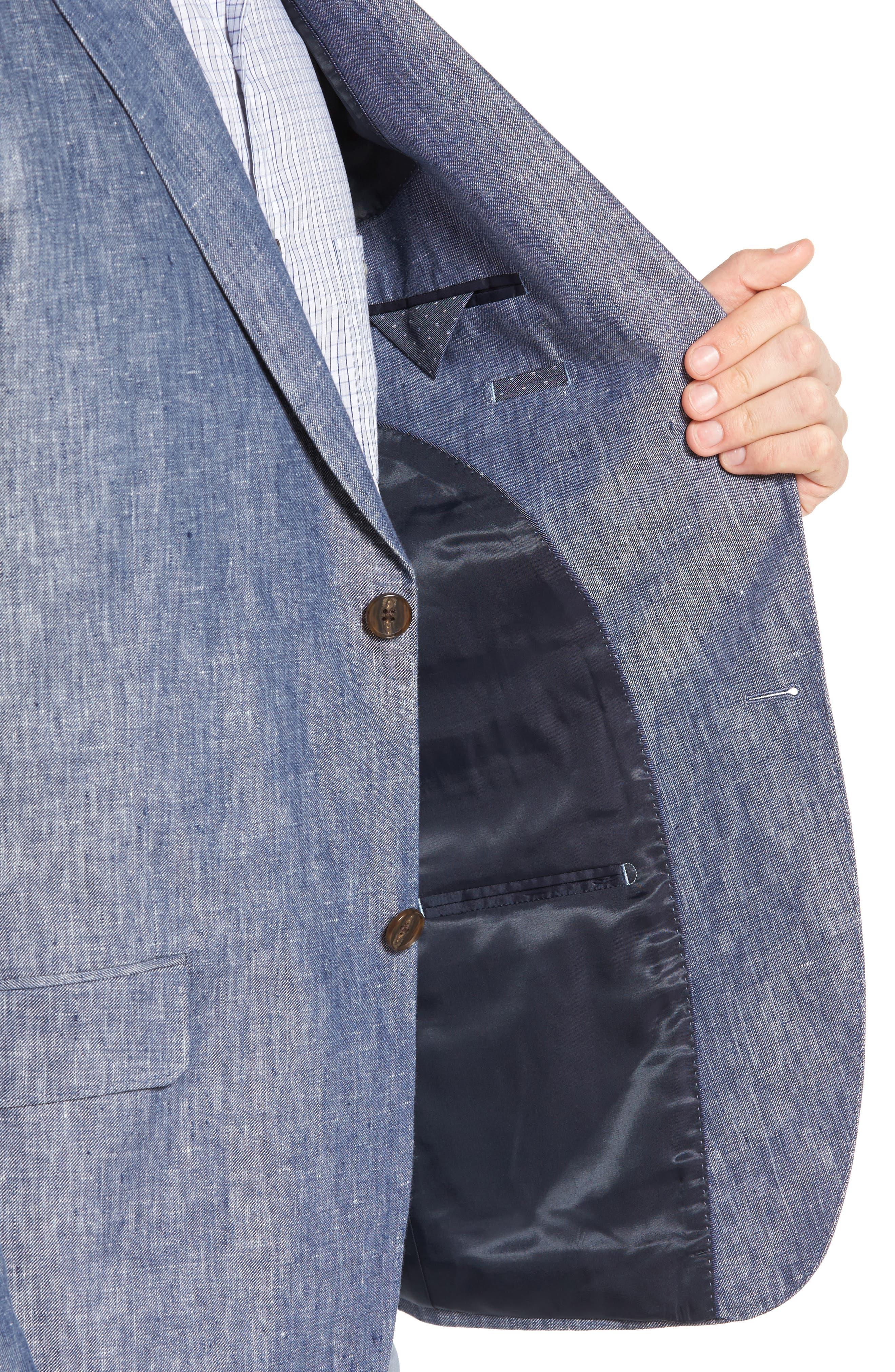 Druces Linen Sport Coat,                             Alternate thumbnail 4, color,                             Denim