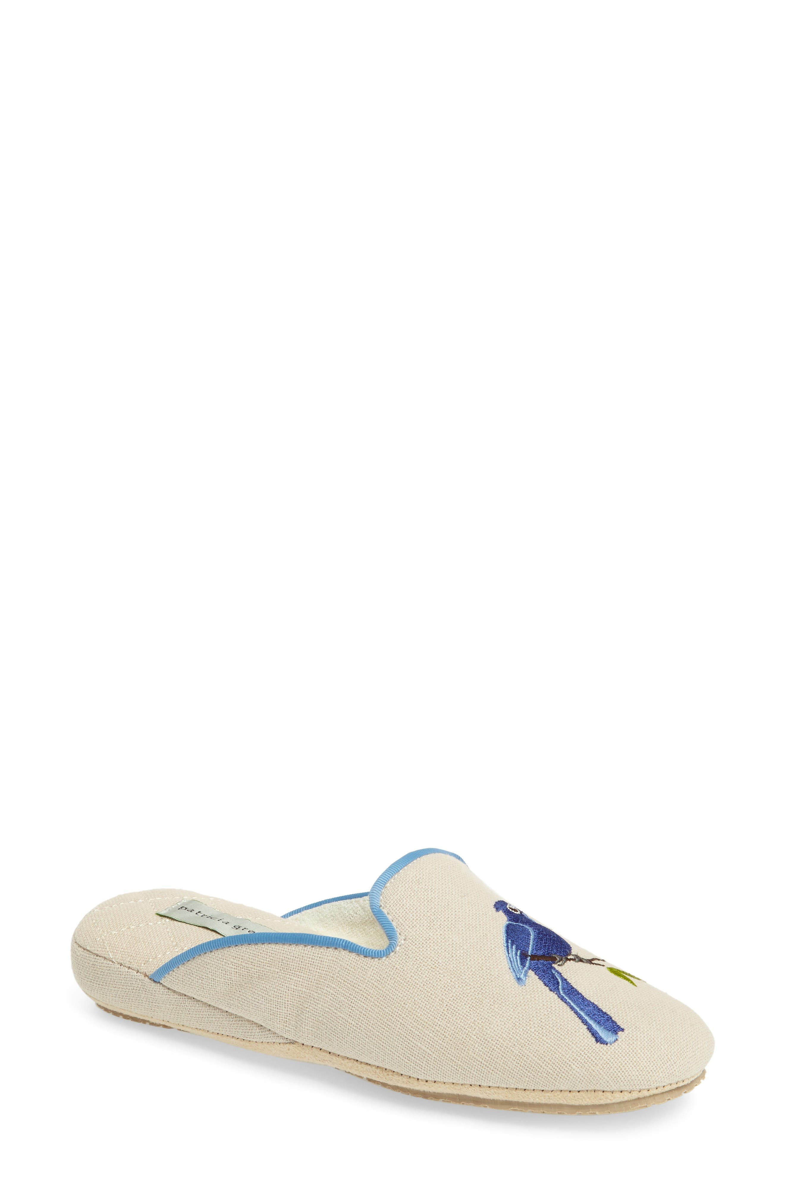 Bluebird Embroidered Slipper,                         Main,                         color, Natural Fabric