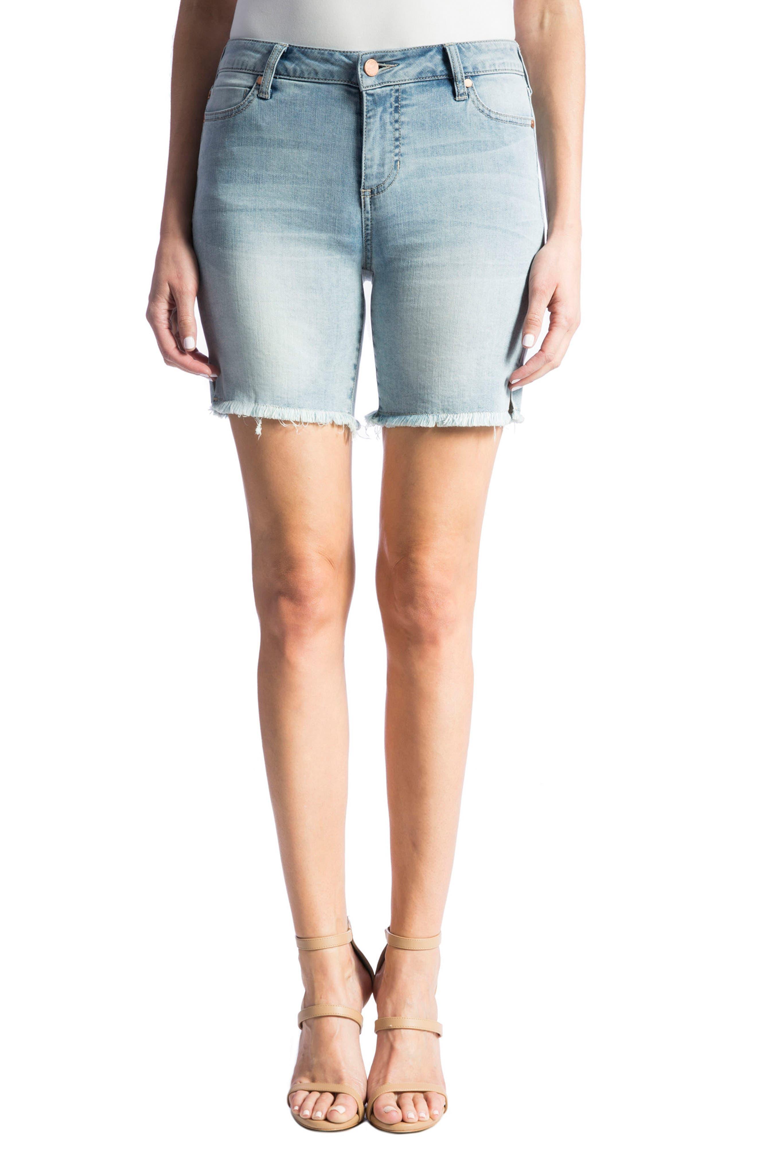 Corine Stretch Denim Shorts,                             Main thumbnail 1, color,                             Mandalay Light