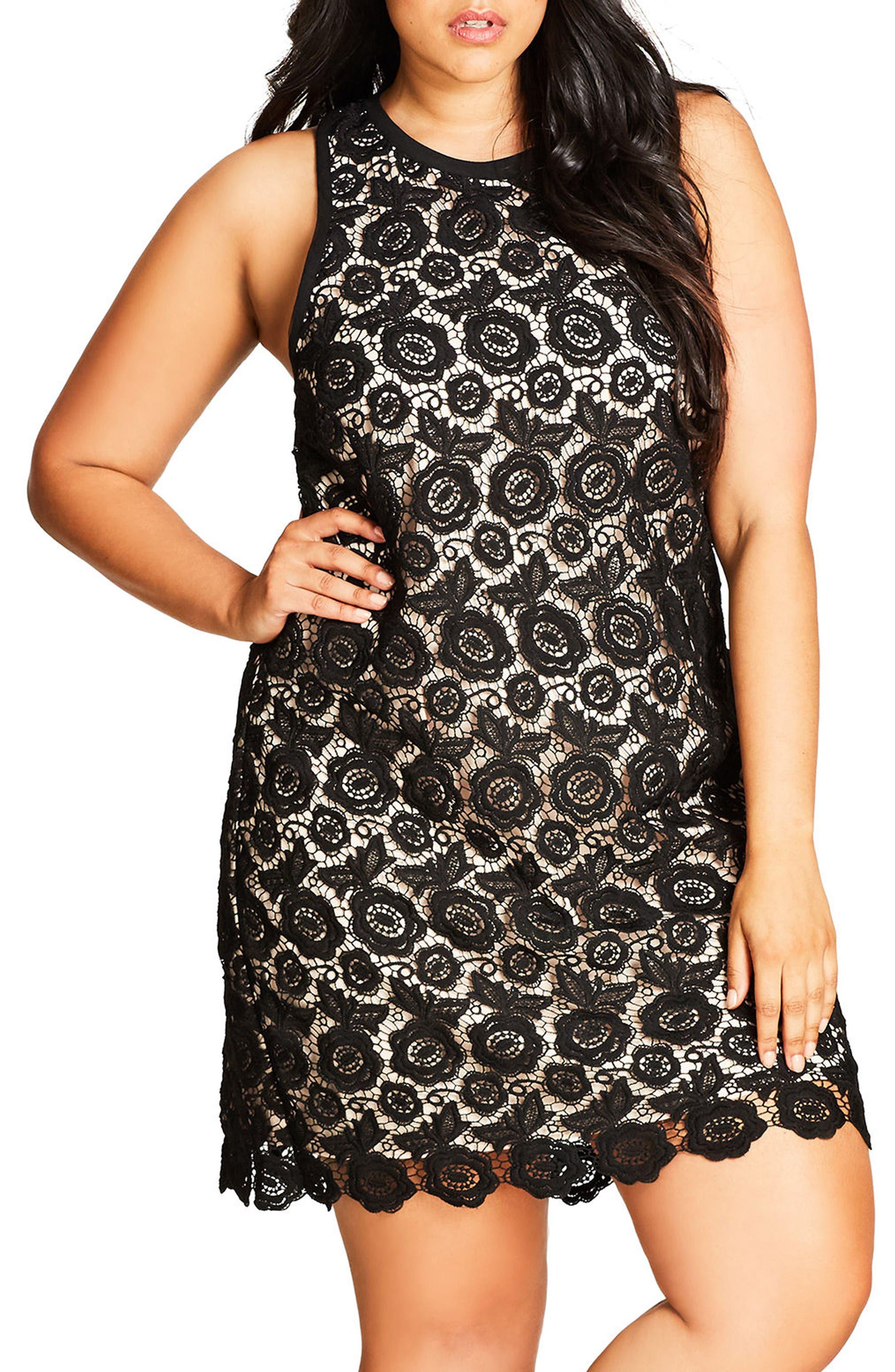 Main Image - City Chic Tea Party Lace Shift Dress (Plus Size)