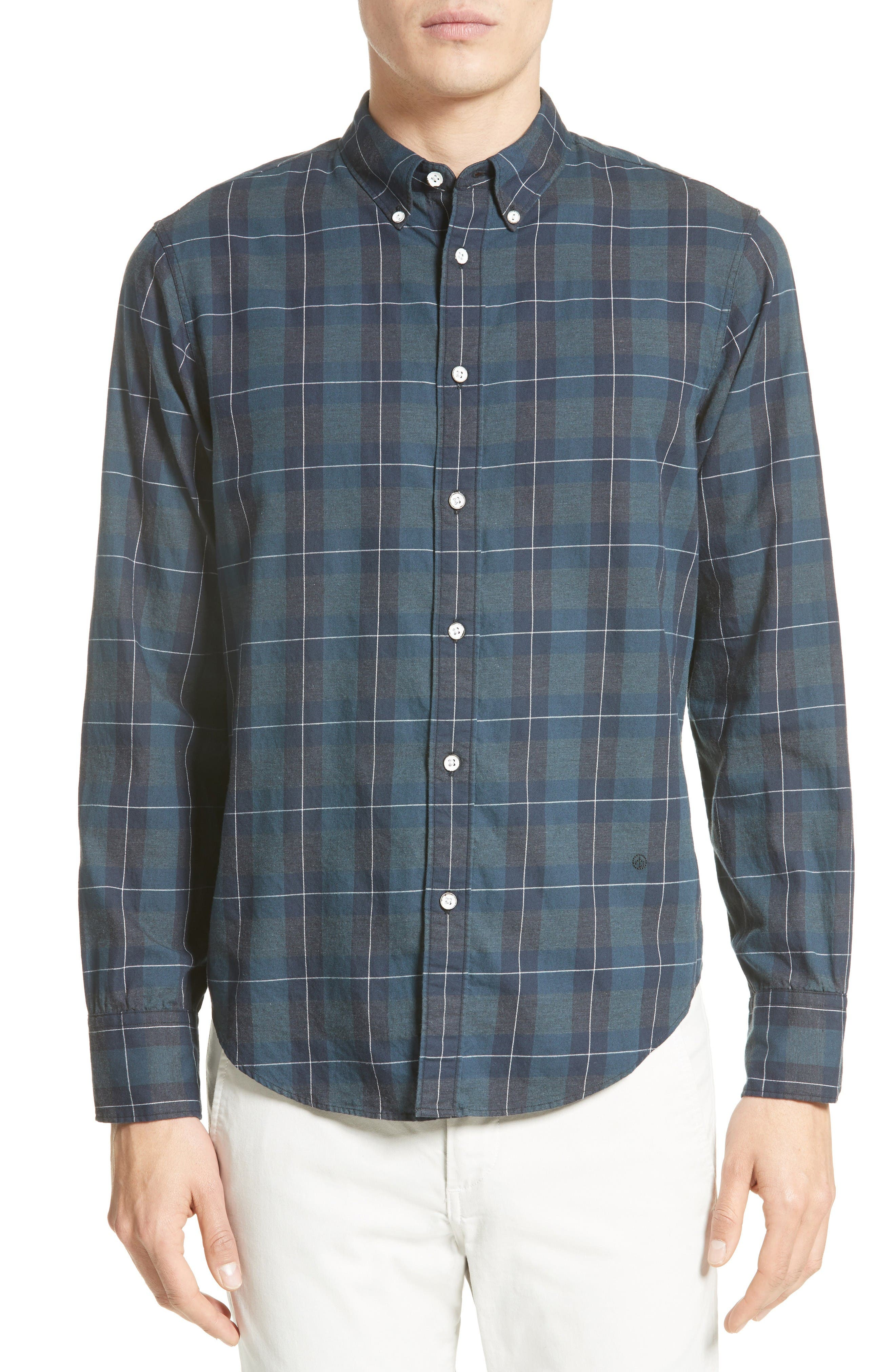 Tomlin Plaid Sport Shirt,                             Main thumbnail 1, color,                             Navy Multi