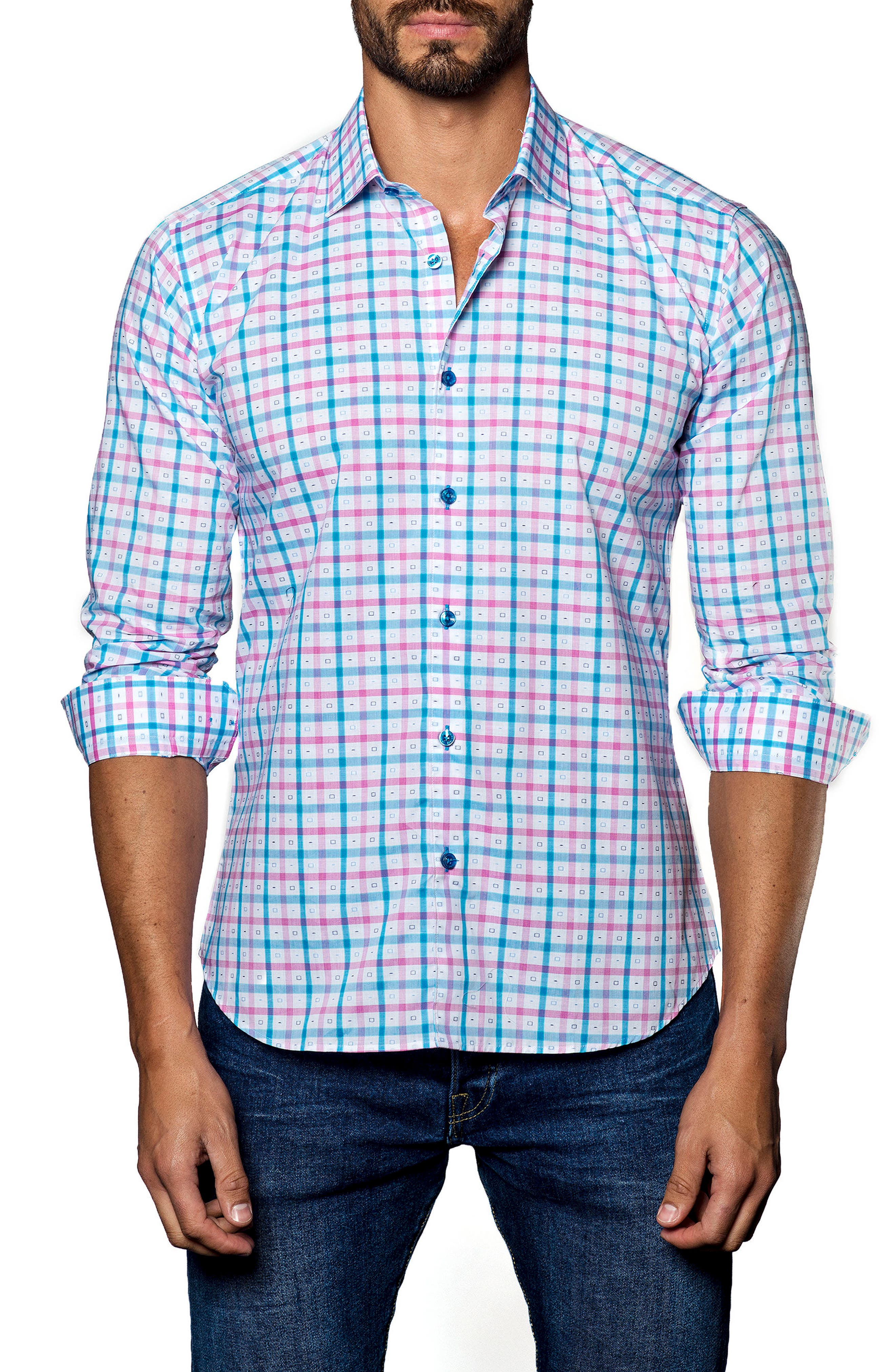 Alternate Image 1 Selected - Jared Lang Trim Fit Check Sport Shirt