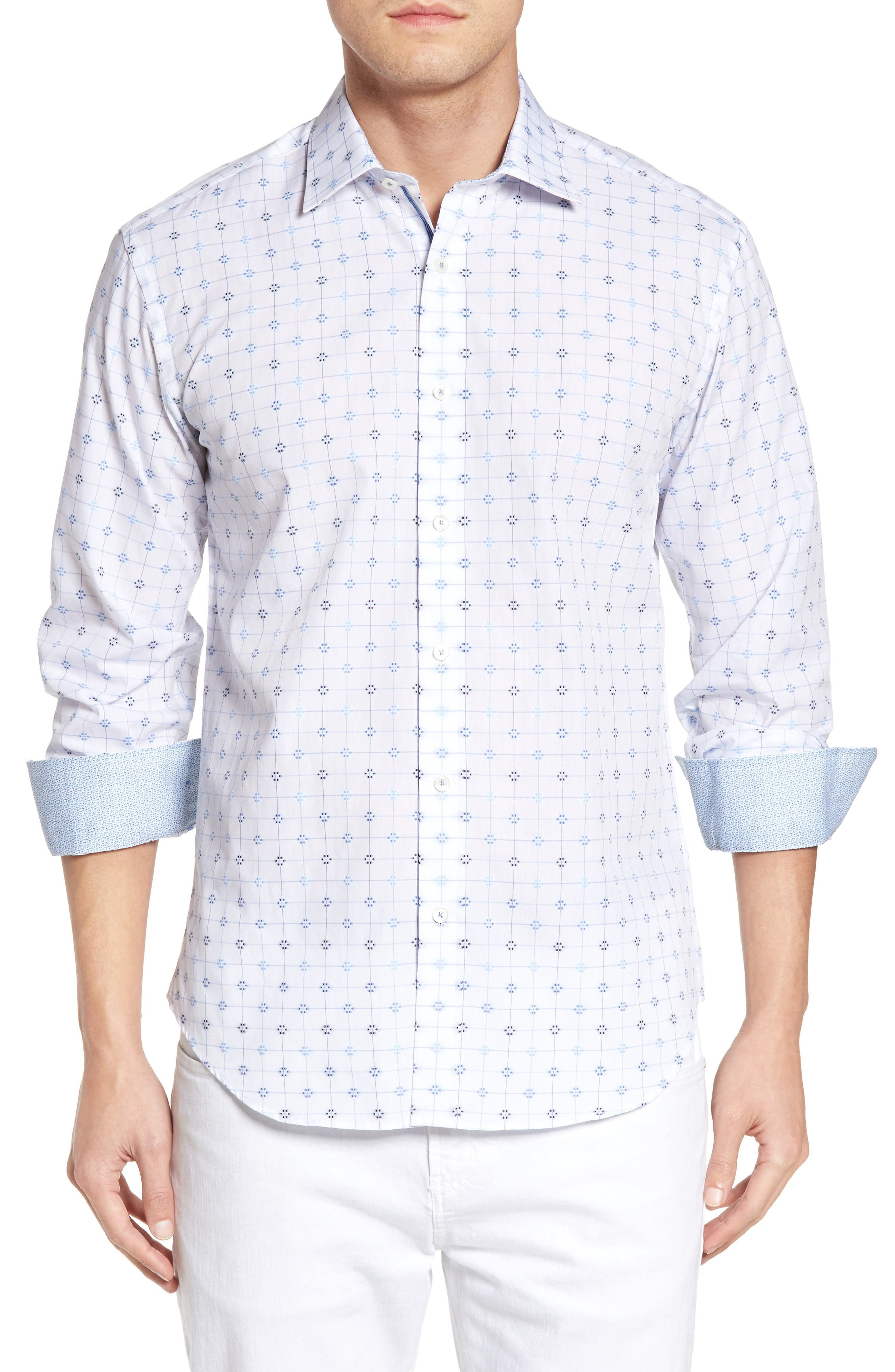 Shaped Fit Geo Print Sport Shirt,                             Main thumbnail 1, color,                             White