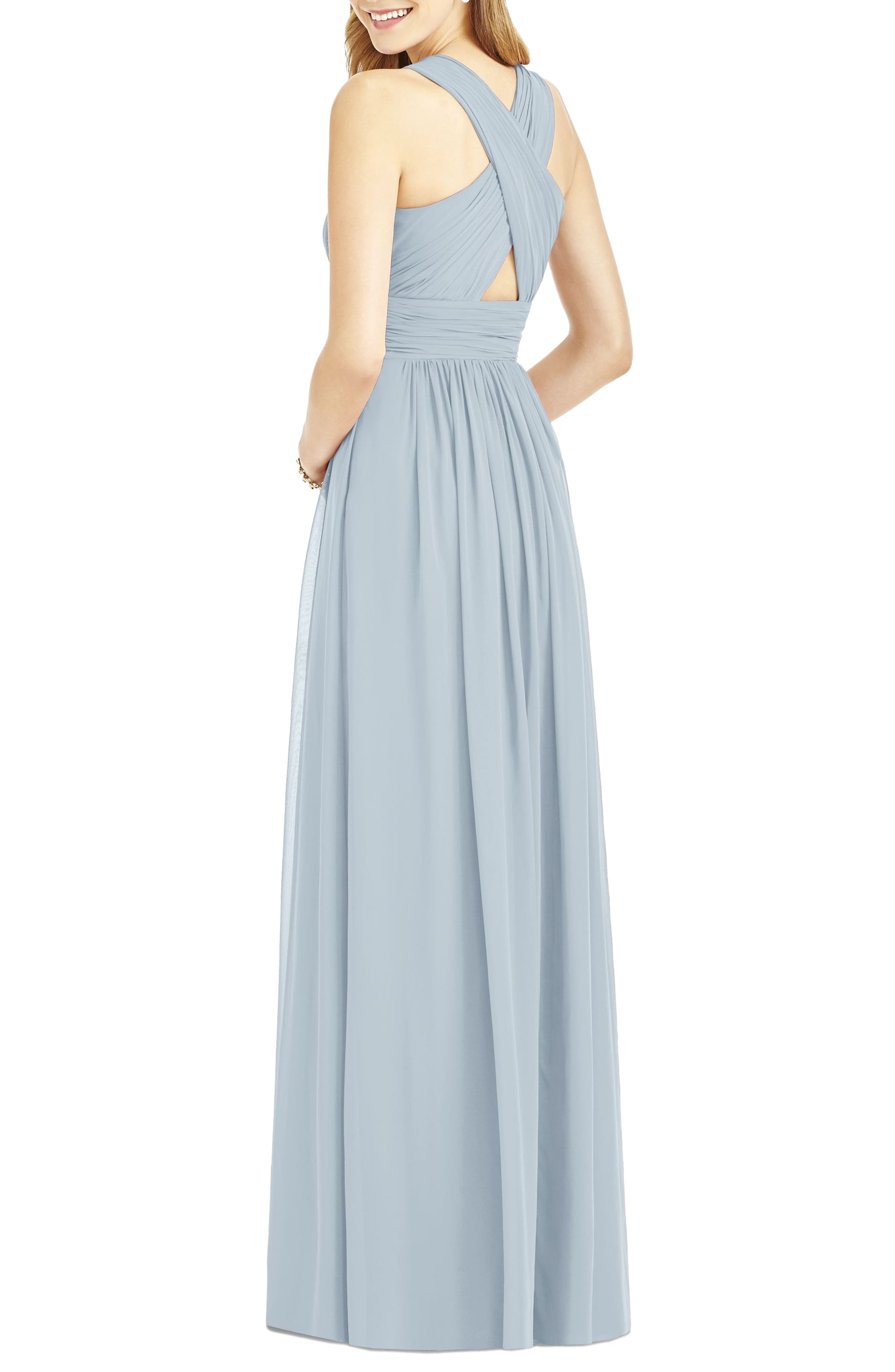 Crisscross Back Ruched Chiffon V-Neck Gown,                             Alternate thumbnail 2, color,                             Mist