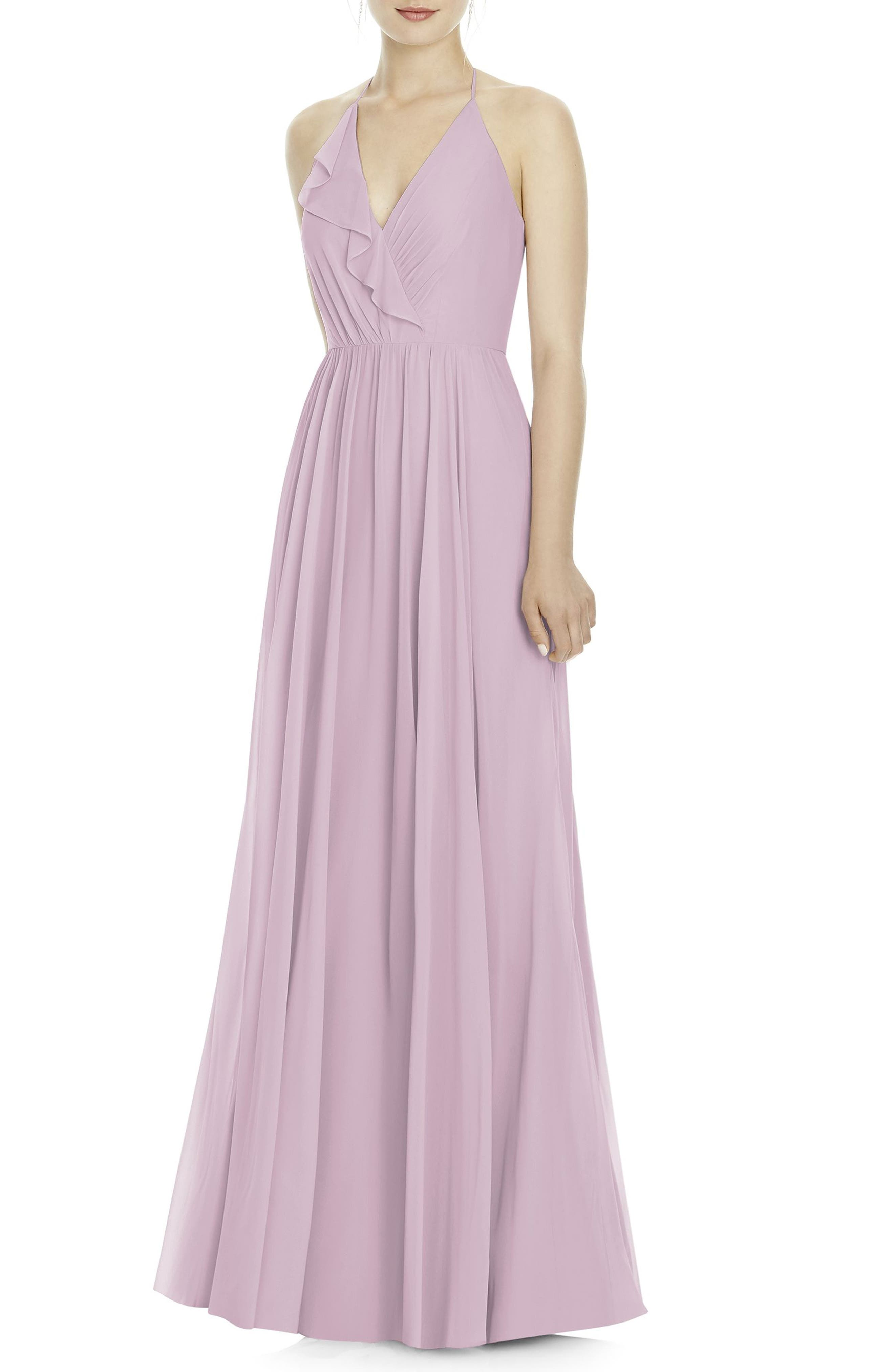Chiffon A-Line Gown,                         Main,                         color, Suede Rose