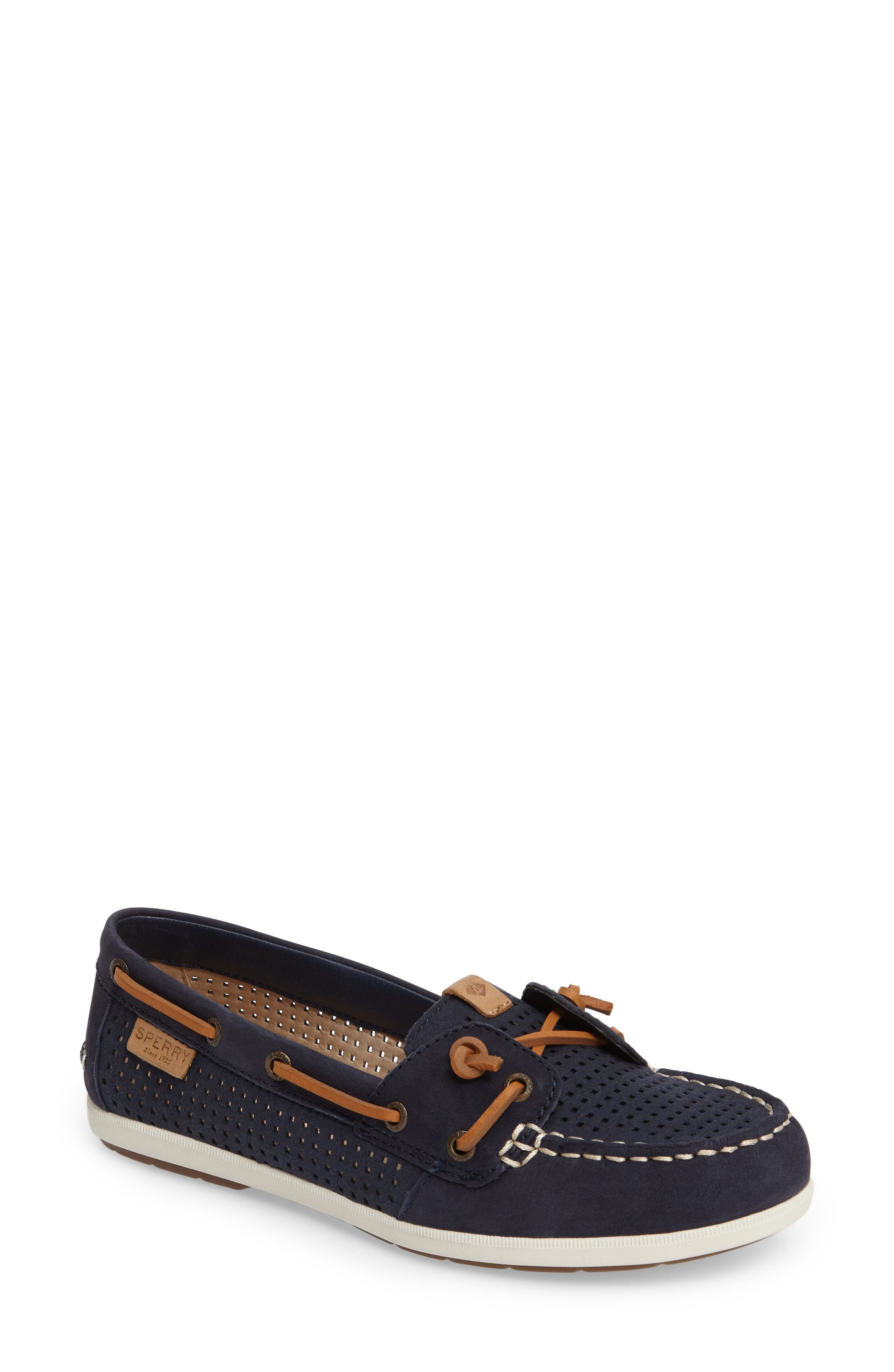 Coil Ivy Boat Shoe,                         Main,                         color, Navy Leather
