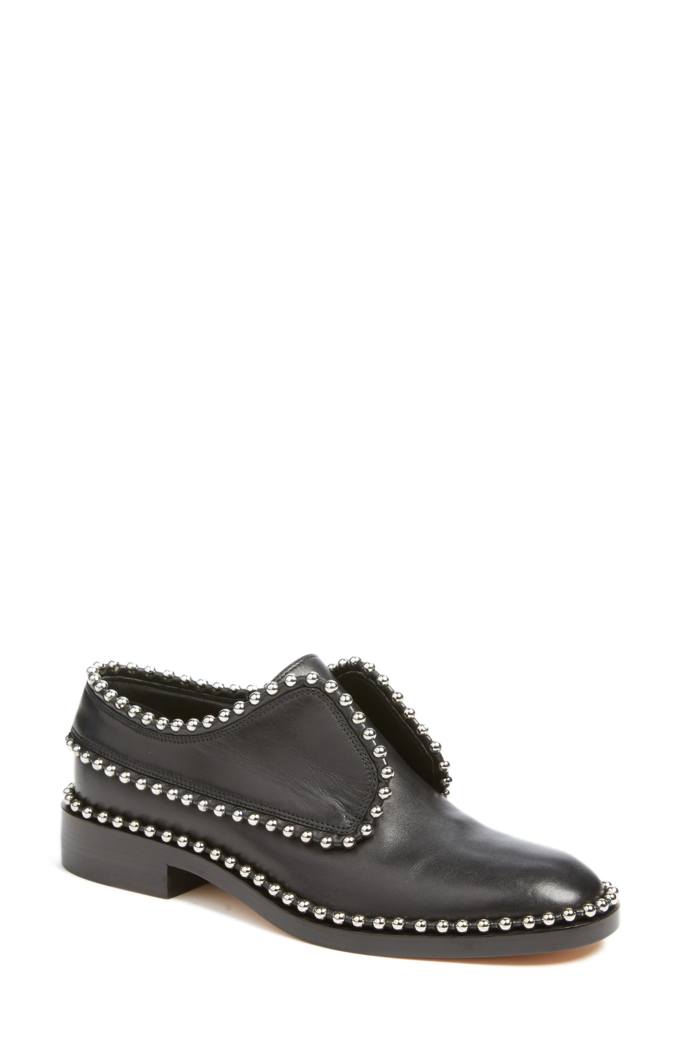 Wendie Studded Oxford,                             Main thumbnail 1, color,                             Black Leather
