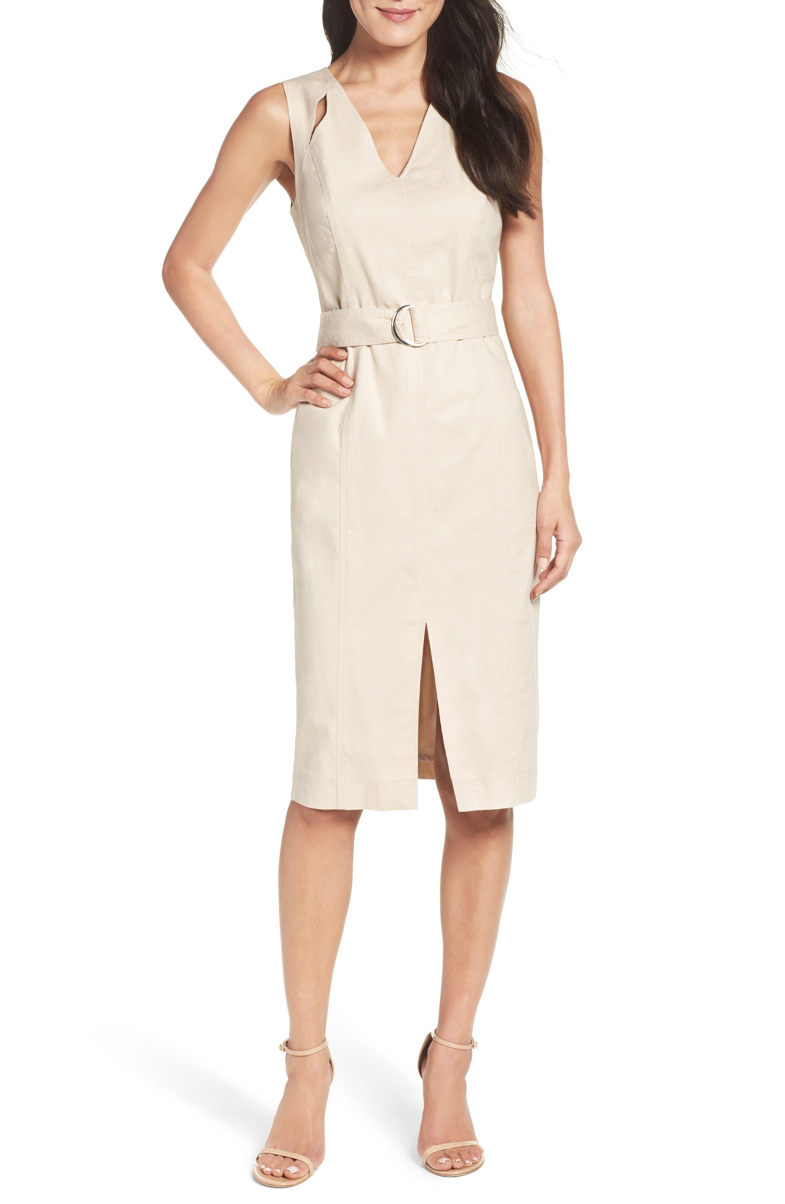 Belted Sheath Dress,                         Main,                         color, Natural