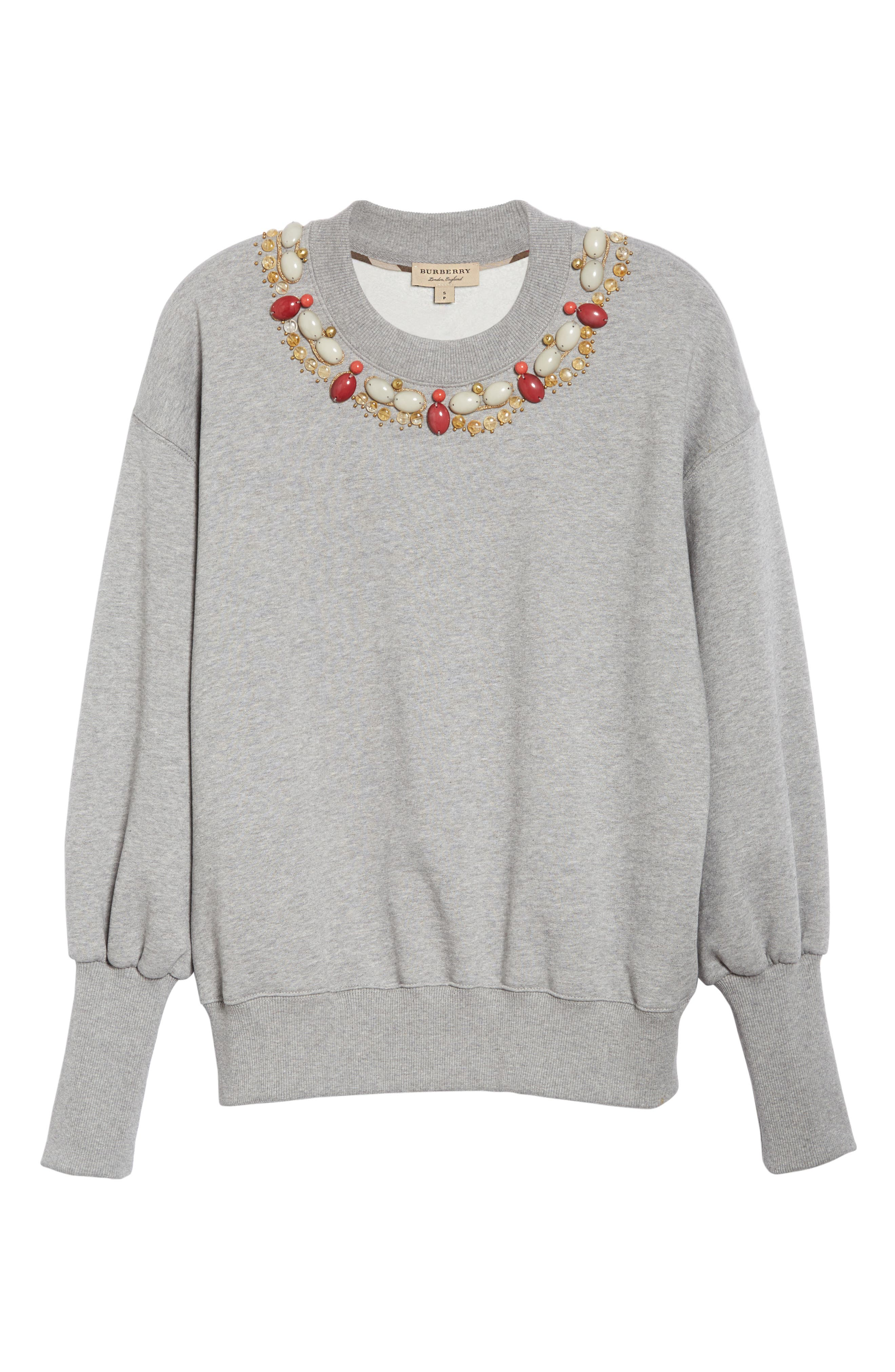 Juliano Embellished Sweatshirt,                             Alternate thumbnail 4, color,                             Pale Grey Melange