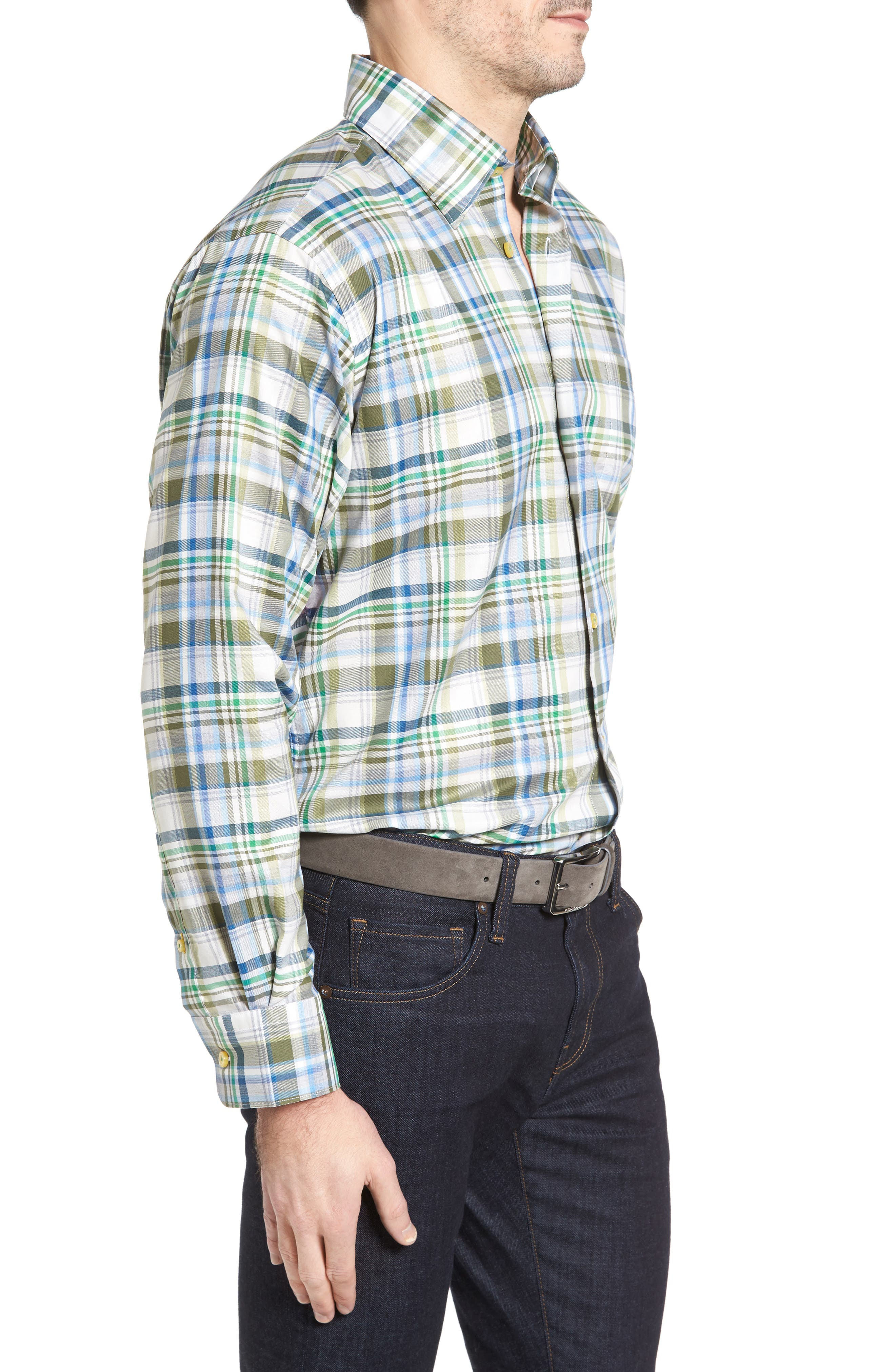Anderson Classic Fit Plaid Micro Twill Sport Shirt,                             Alternate thumbnail 3, color,                             Green