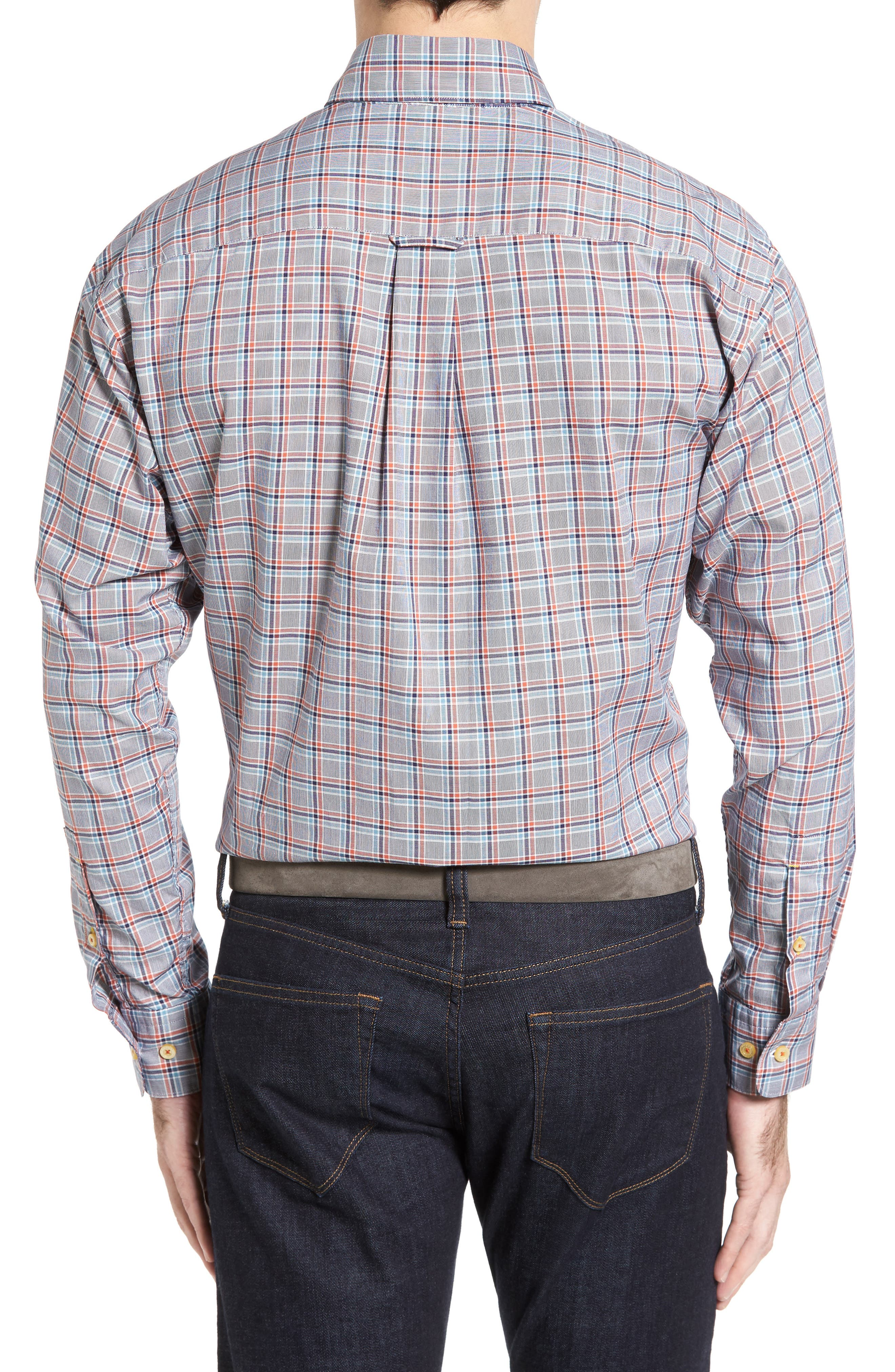 Anderson Classic Fit Plaid Oxford Sport Shirt,                             Alternate thumbnail 2, color,                             Navy