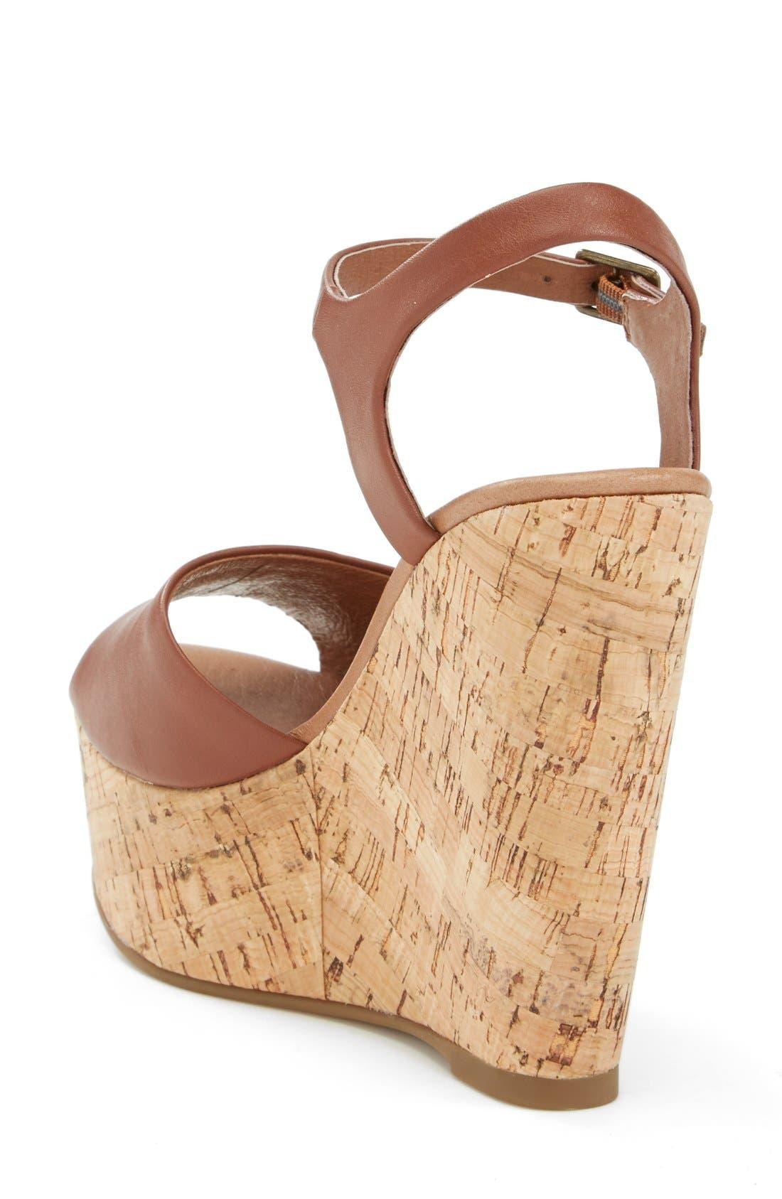 'Korkey' Ankle Strap Wedge Platform Sandal,                             Alternate thumbnail 2, color,                             Cognac