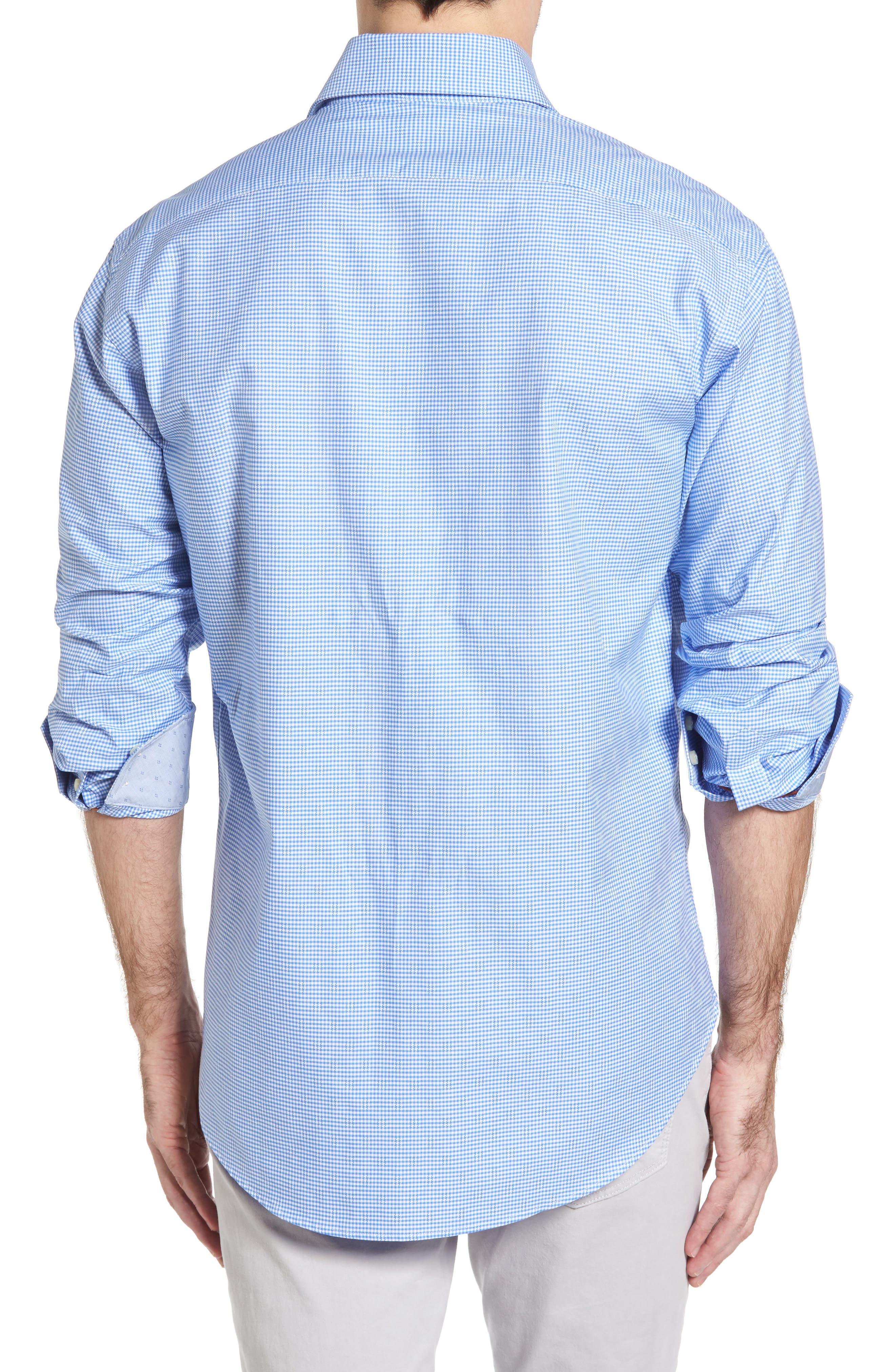 Classic Fit Mini Check Sport Shirt,                             Alternate thumbnail 2, color,                             Blue